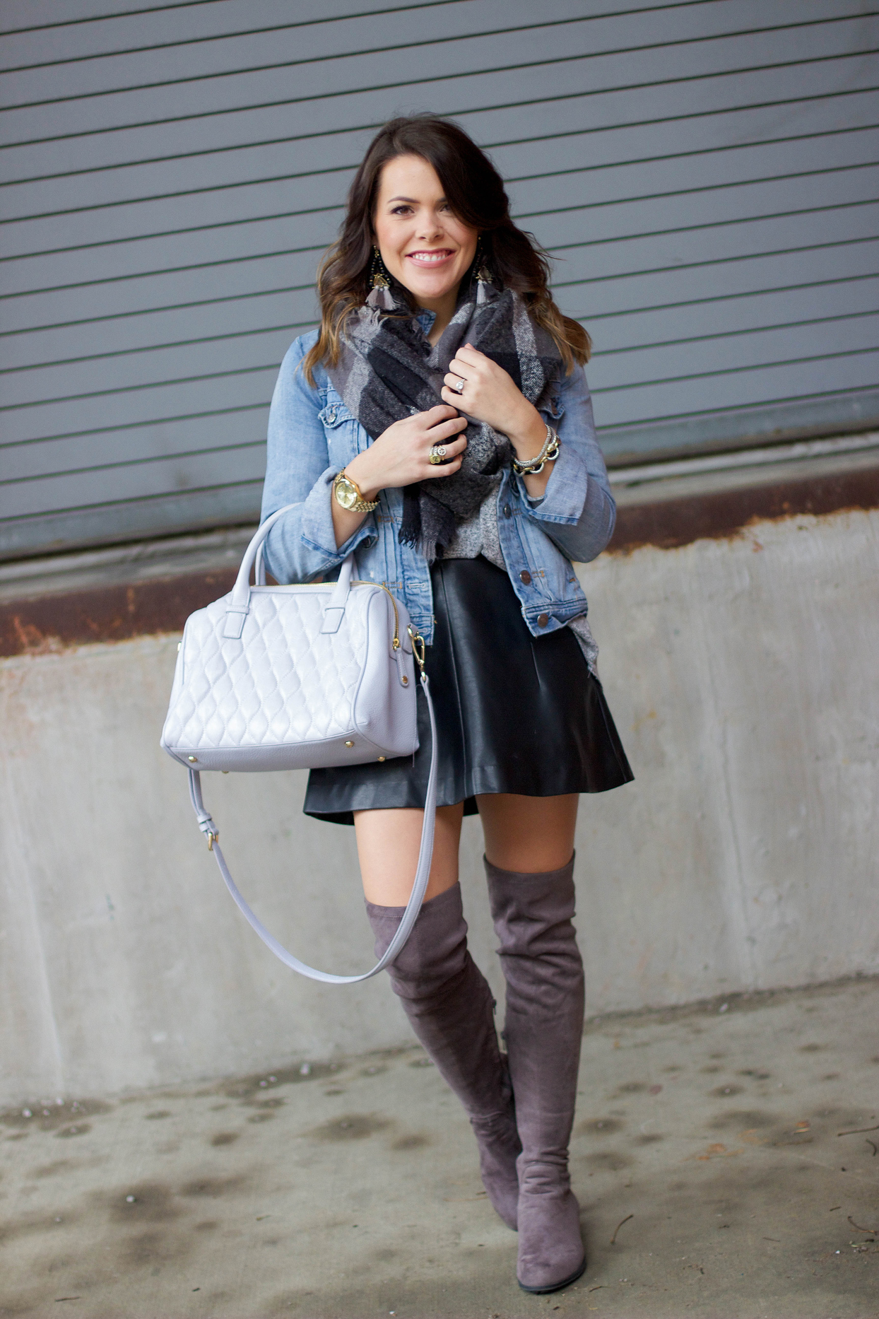 denim jacket leather skirt glitter gingham