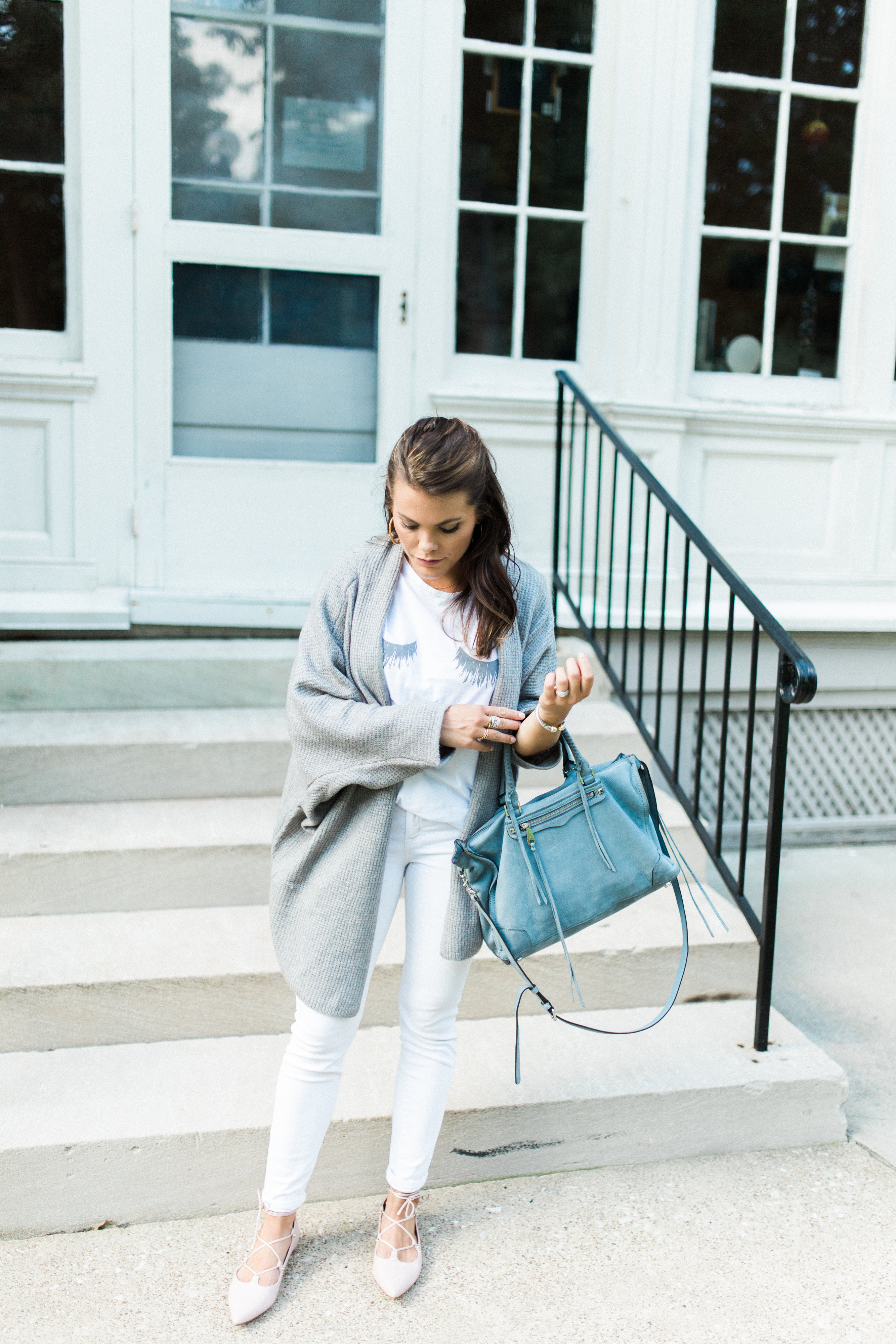 Summer to fall style on Glitter & Gingham // Sincerely Jules T-Shirt, Open Cardigan, Rebecca Minkoff Tote, Lace Up Flats