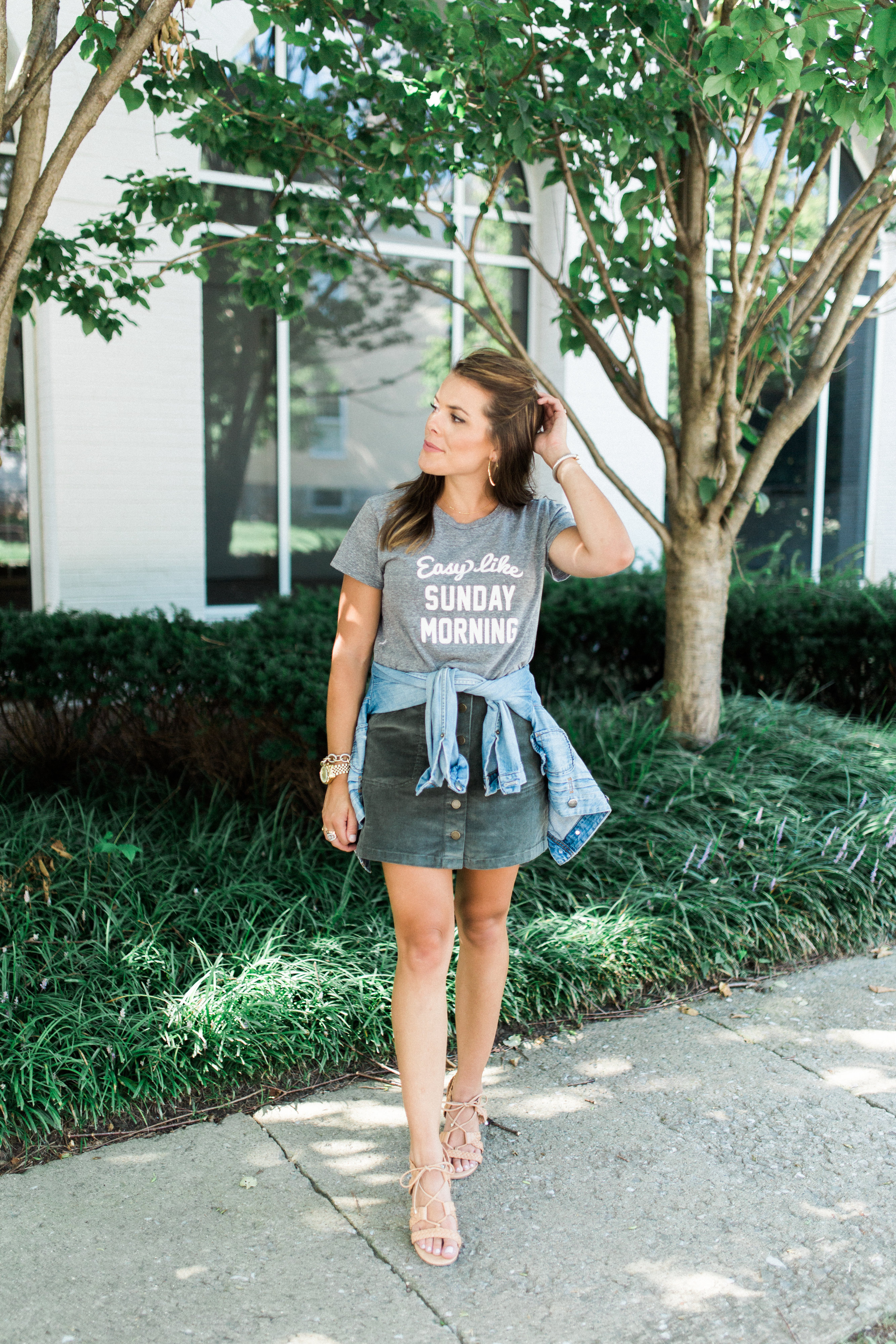 Summer to Fall Outfit on Glitter & Gingham // easy like sunday morning tshirt, corduroy skirt, denim jacket, lace up sandals