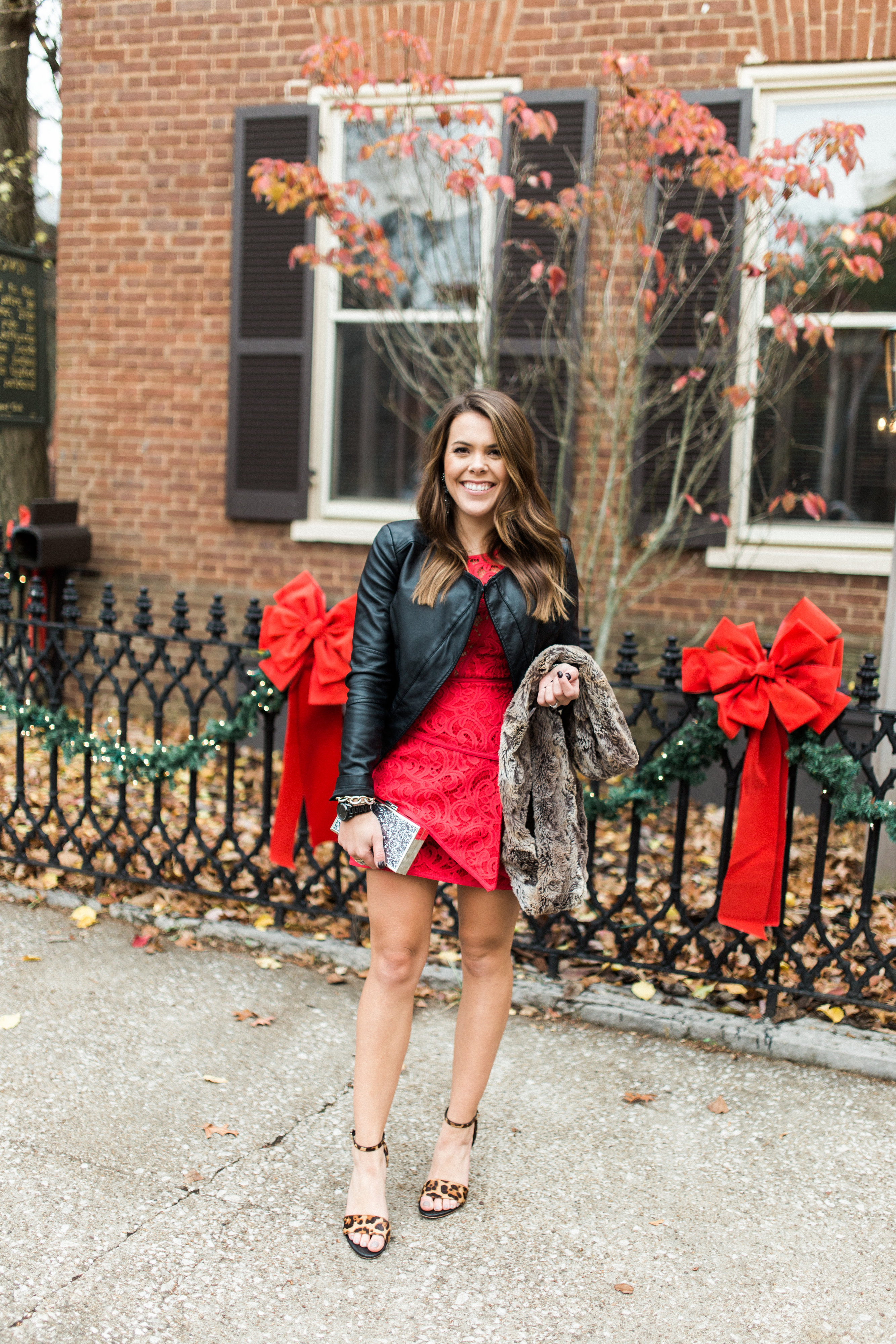 Red Lace Dress Glitter Gingham
