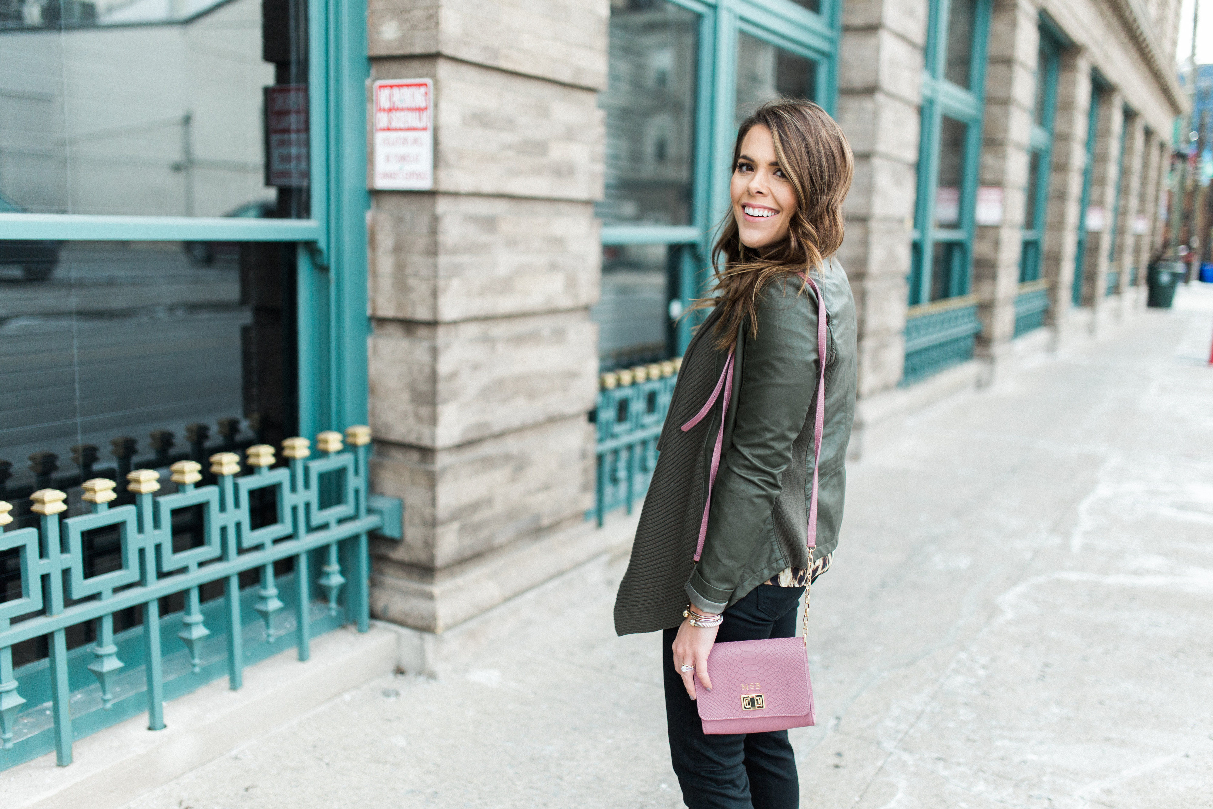 Winter Outfits to Copy ft. Leopard Blouse, Leather Jacket, Coated Skinny Jeans, GiGi New York Crossbody