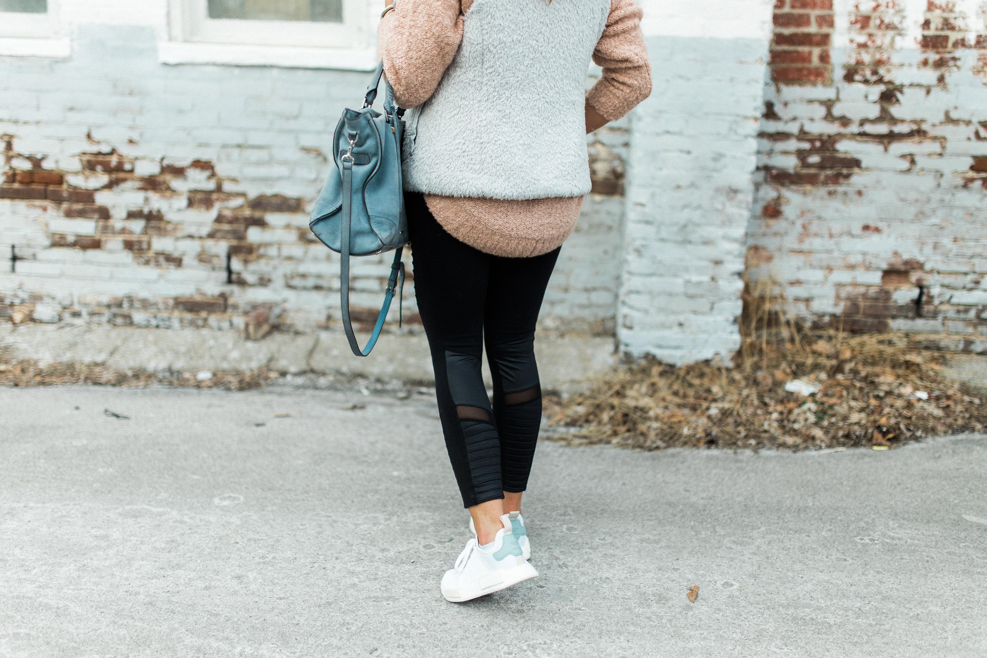 Athleisure Outfit Inspiration // Ft. Alo Moto Leggings, Adidas NMD Sneakers, Patagonia Los Gatos Vest, Rebecca Minkoff Handbag