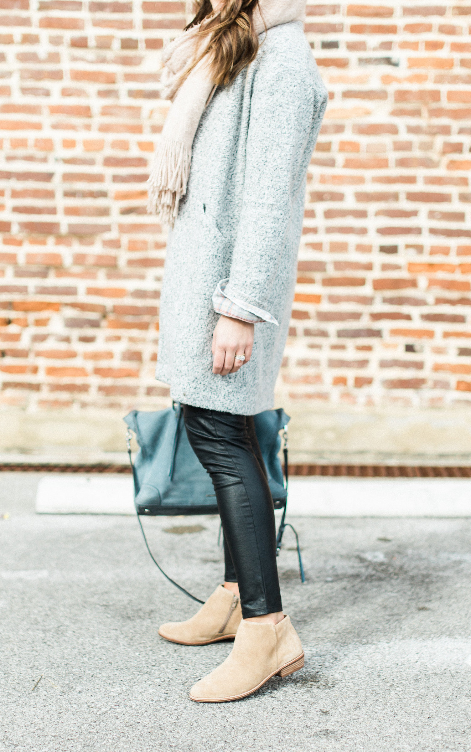 casual winter outfit to copy: cozy scarf, faux leather leggings, plaid flannel, suede booties, rebecca minkoff handbag