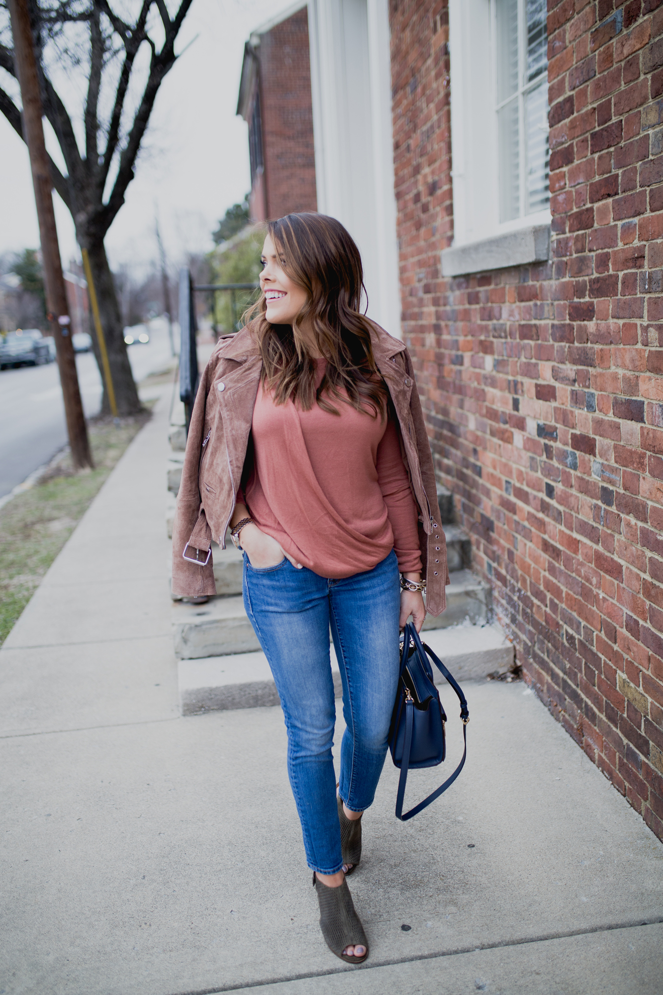 Spring Outfit Inspiration ft. Blank NYC Suede Jacket, Gap Jeans, ASOS Sweater, Henri Bendel Rivington Tote