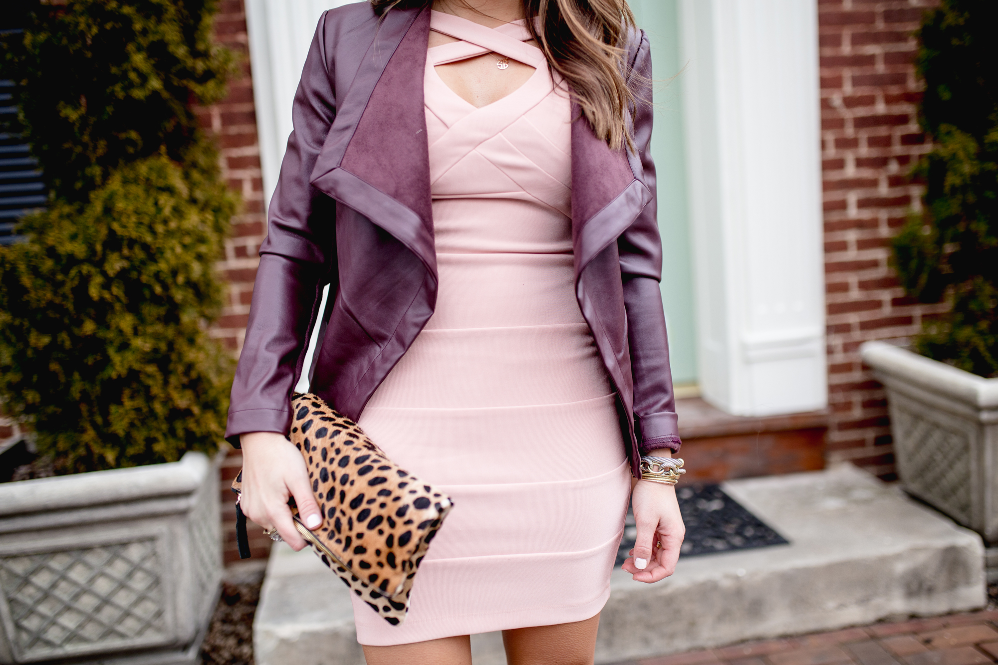 Valentines Day Outfit Inspiration Ft. Body Con Dress via Nordstrom, Leather Jacket, Leopard Clutch, Kendra Scott Jewelry