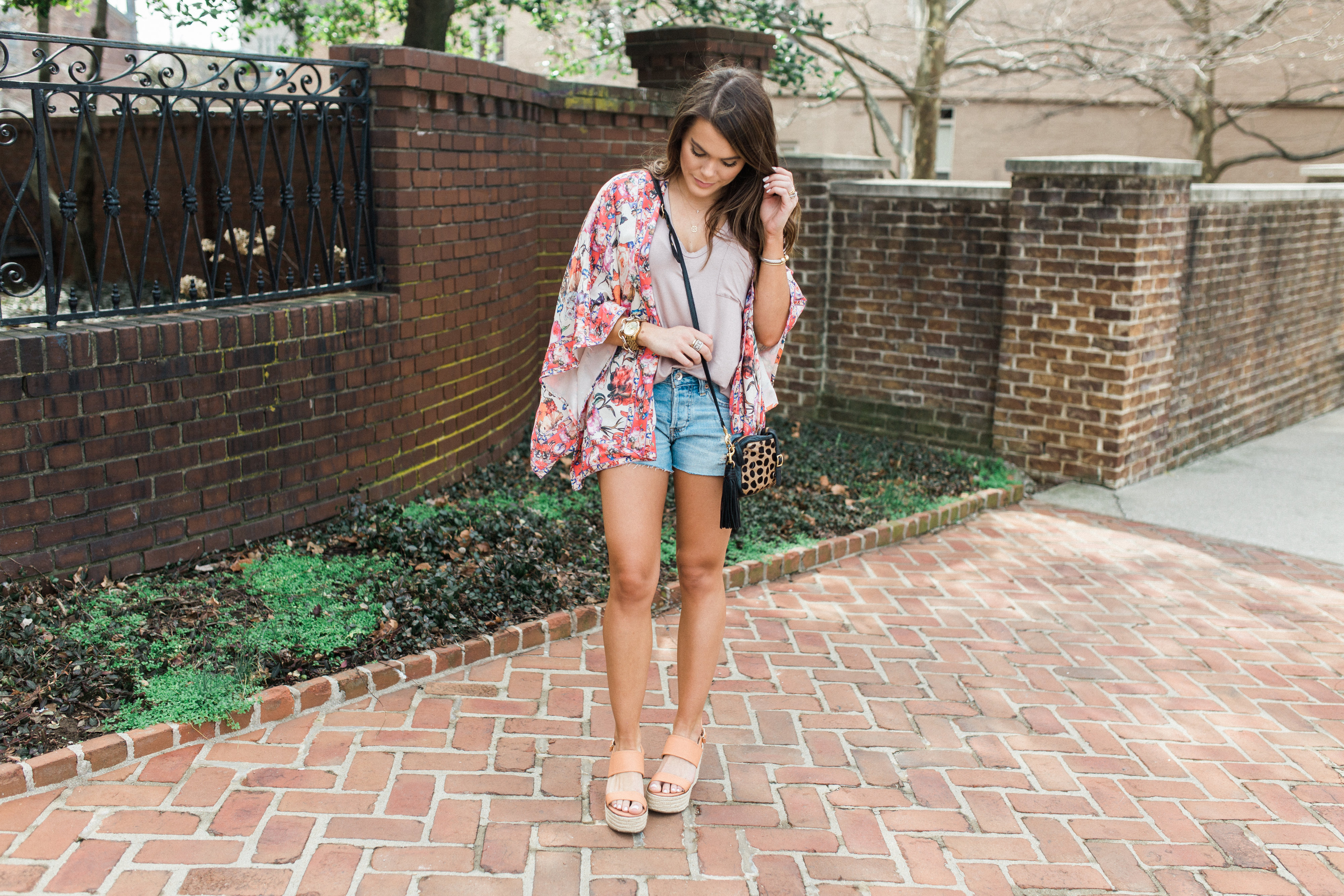 Spring Style Inspiration via Glitter & Gingham / Anthropologie Floral Kimono / the perfect denim cutoffs / spring outfit ideas