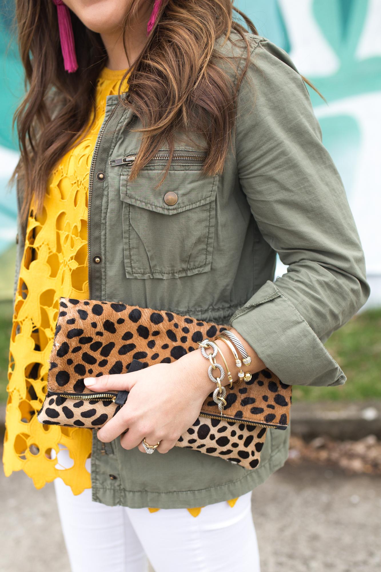 LOFT Lace Tank via Glitter & Gingham // White Jeans, Espadrille Wedges, Utility Jacket, Leopard Clutch, Tassel Earrings // Spring Style // How to wear white jeans