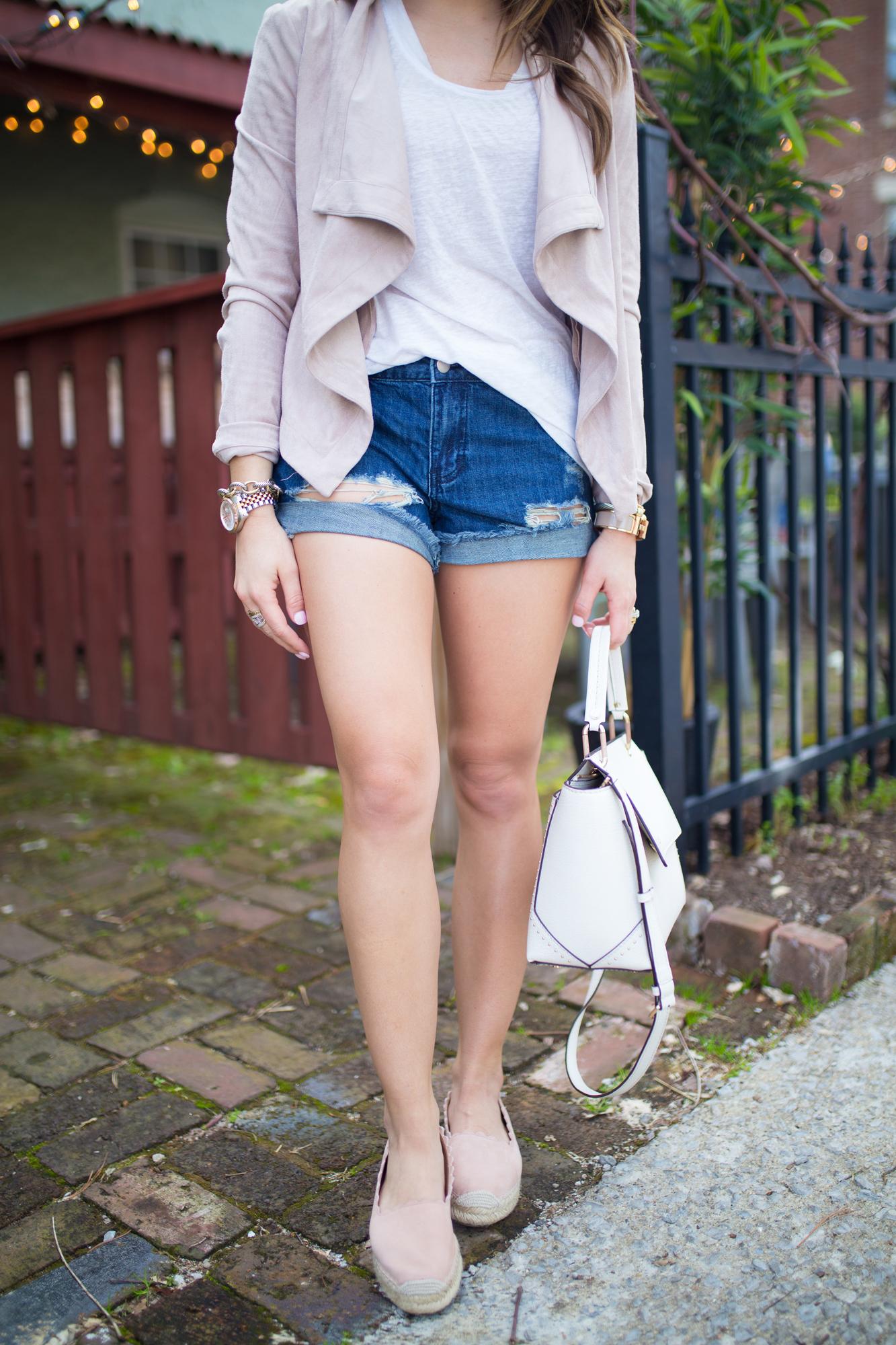 Best Denim Shorts on a Budget // Suede Jacket, Henri Bendel, Espadrilles / Spring Style / Spring Outfit Inspiration