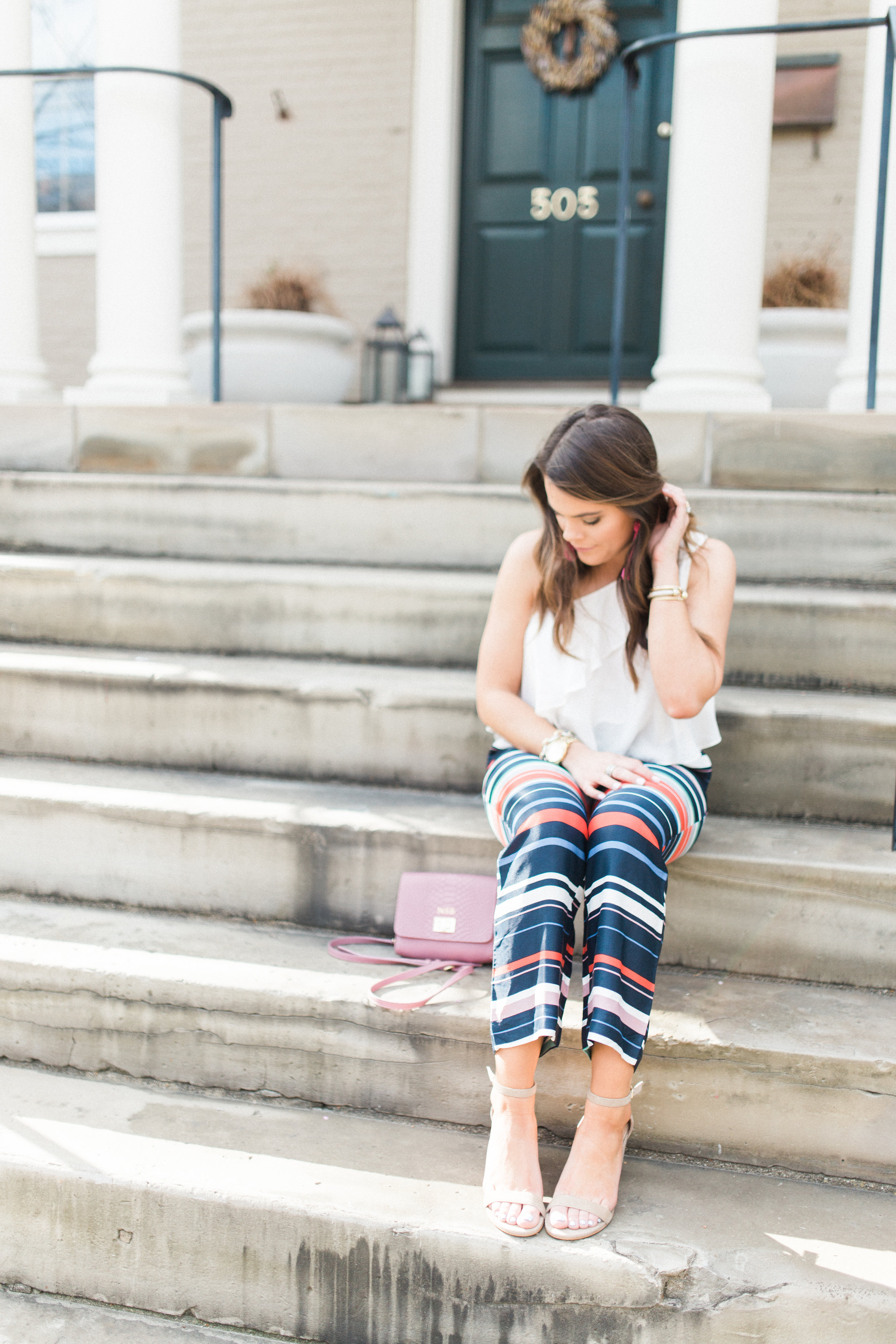 How to wear printed pants for spring // LOFT Stripe Pants / Spring style inspiration via Glitter & Gingham / Spring outfit idea // Ft. LOFT, Urban Outfitters, GiGi New York