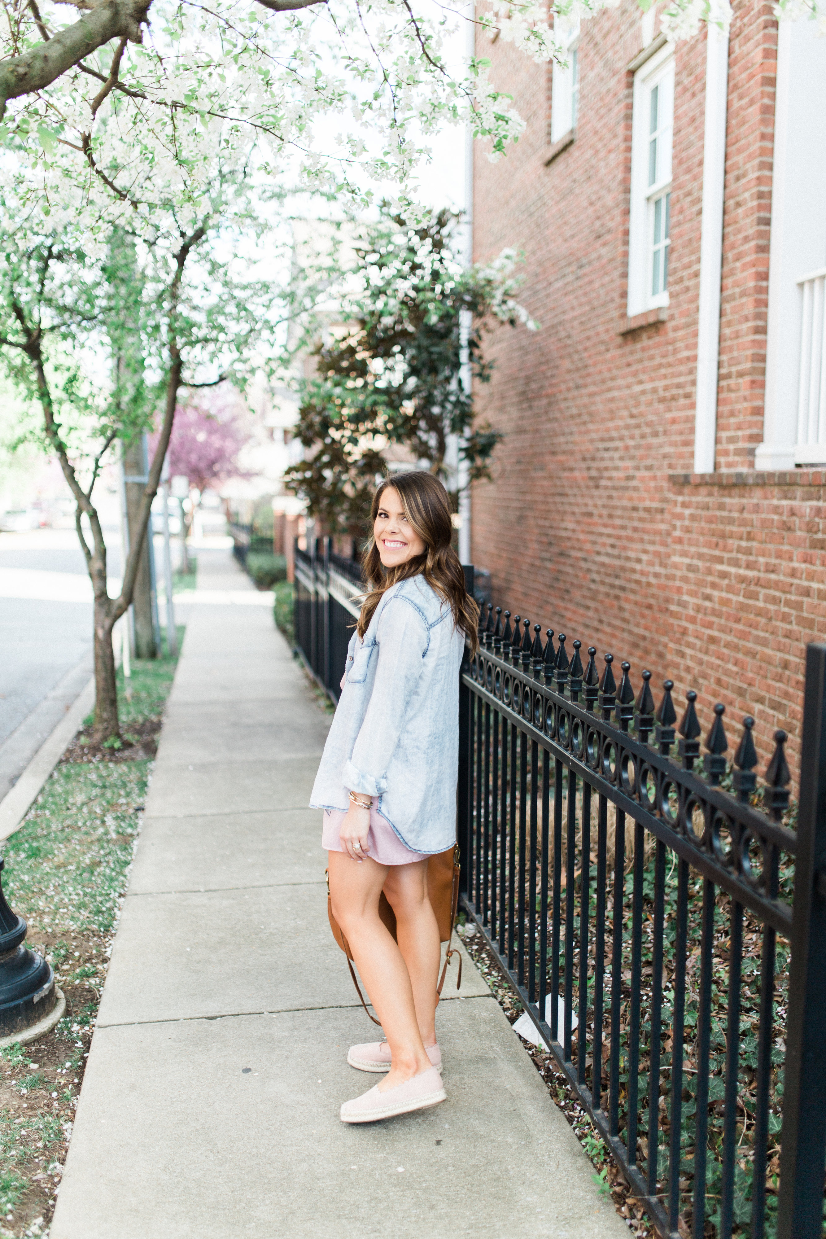Spring Style via Glitter & Gingham / Pink slip dress, espadrilles, Madewell transport tote / spring outfit idea / easy spring outfit to copy