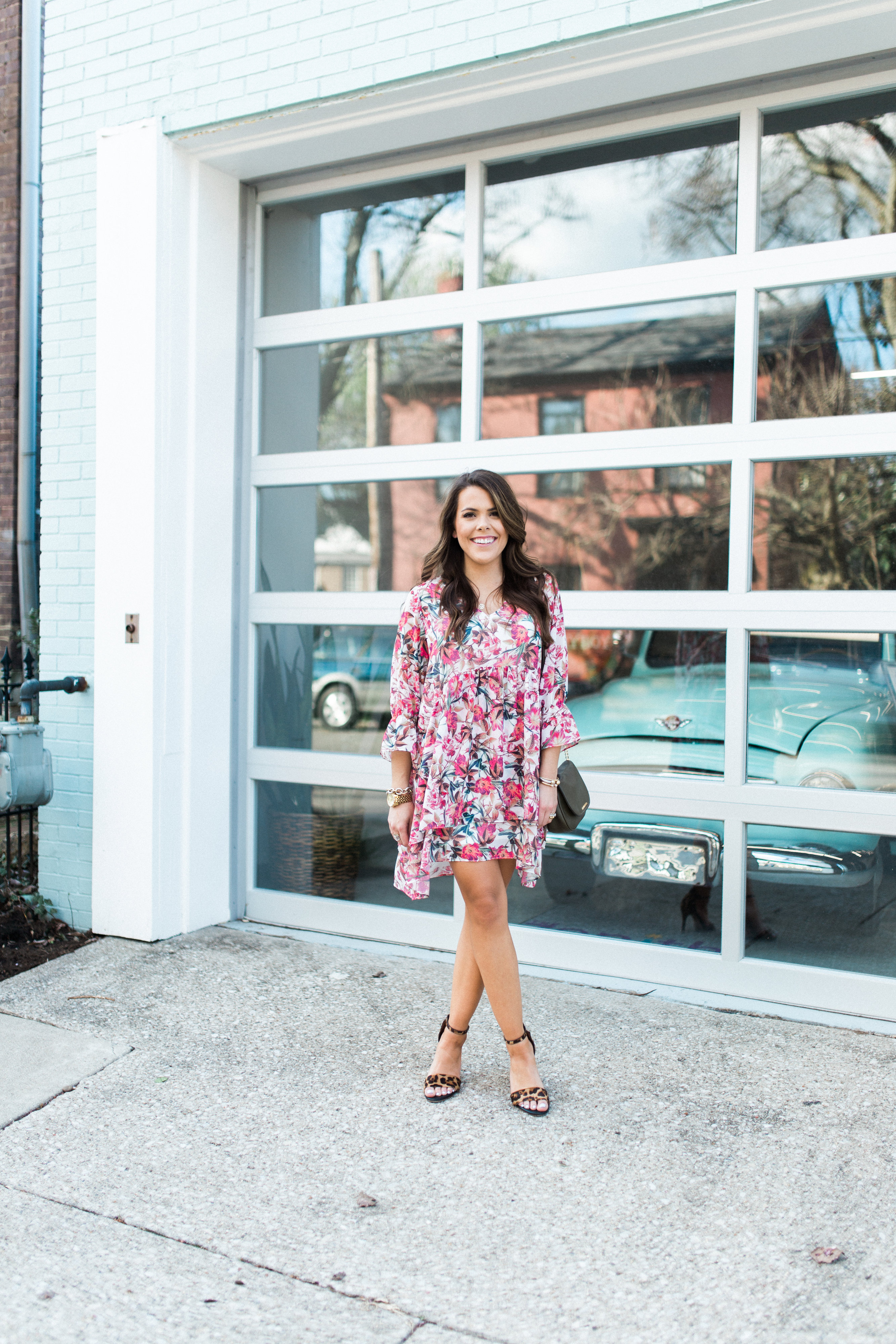 Spring Outfit Inspiration // Spring Outfit Ideas // Floral Dress, Leopard Sandals // Ft. Dillard's, Michael Kors, David Yurman