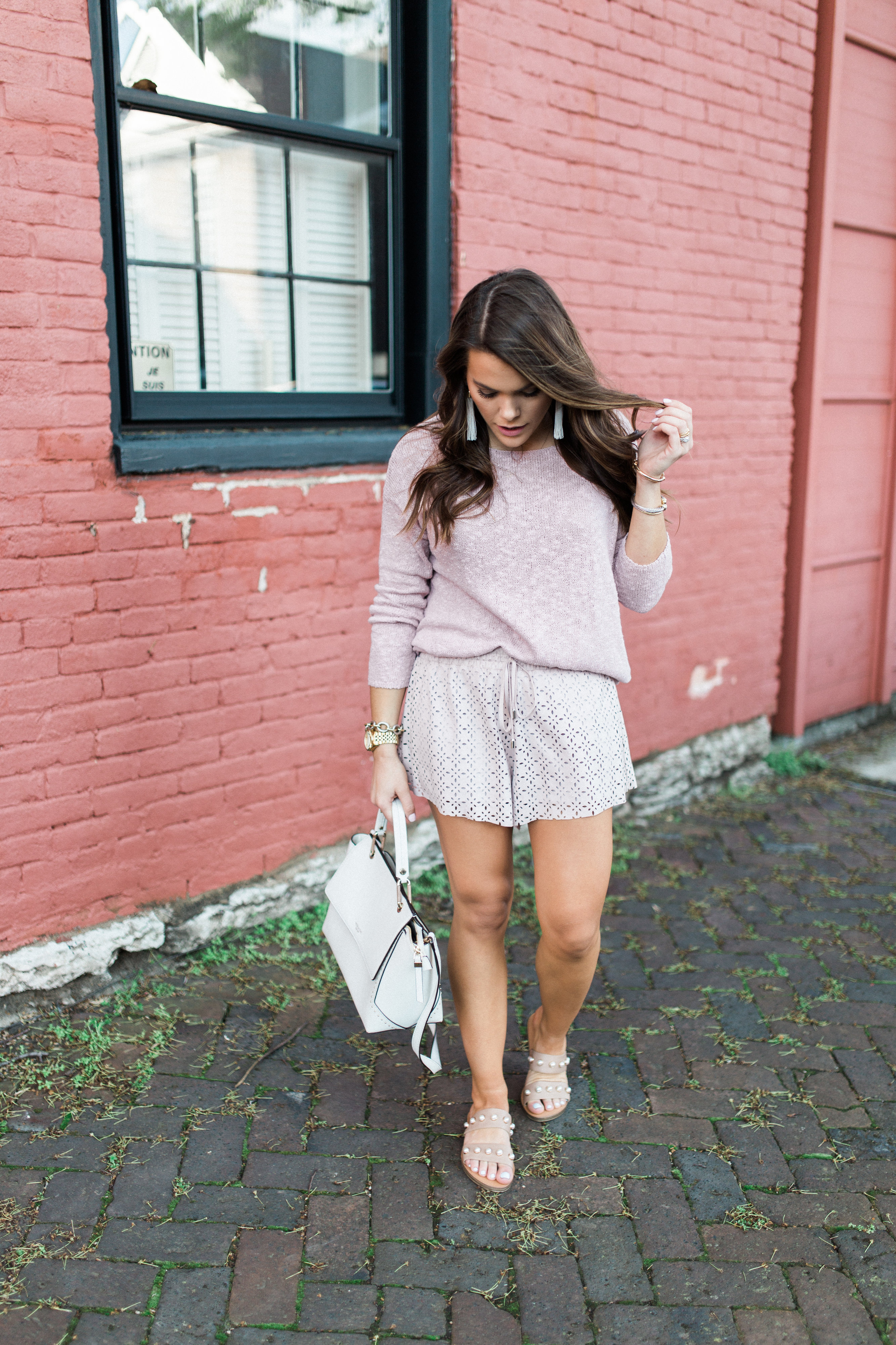 Casual Spring Outfit via Glitter & Gingham / Spring Outfit Idea // Pink monochrome outfit // Ft. Steve Madden, Forever21, Henri Bendel