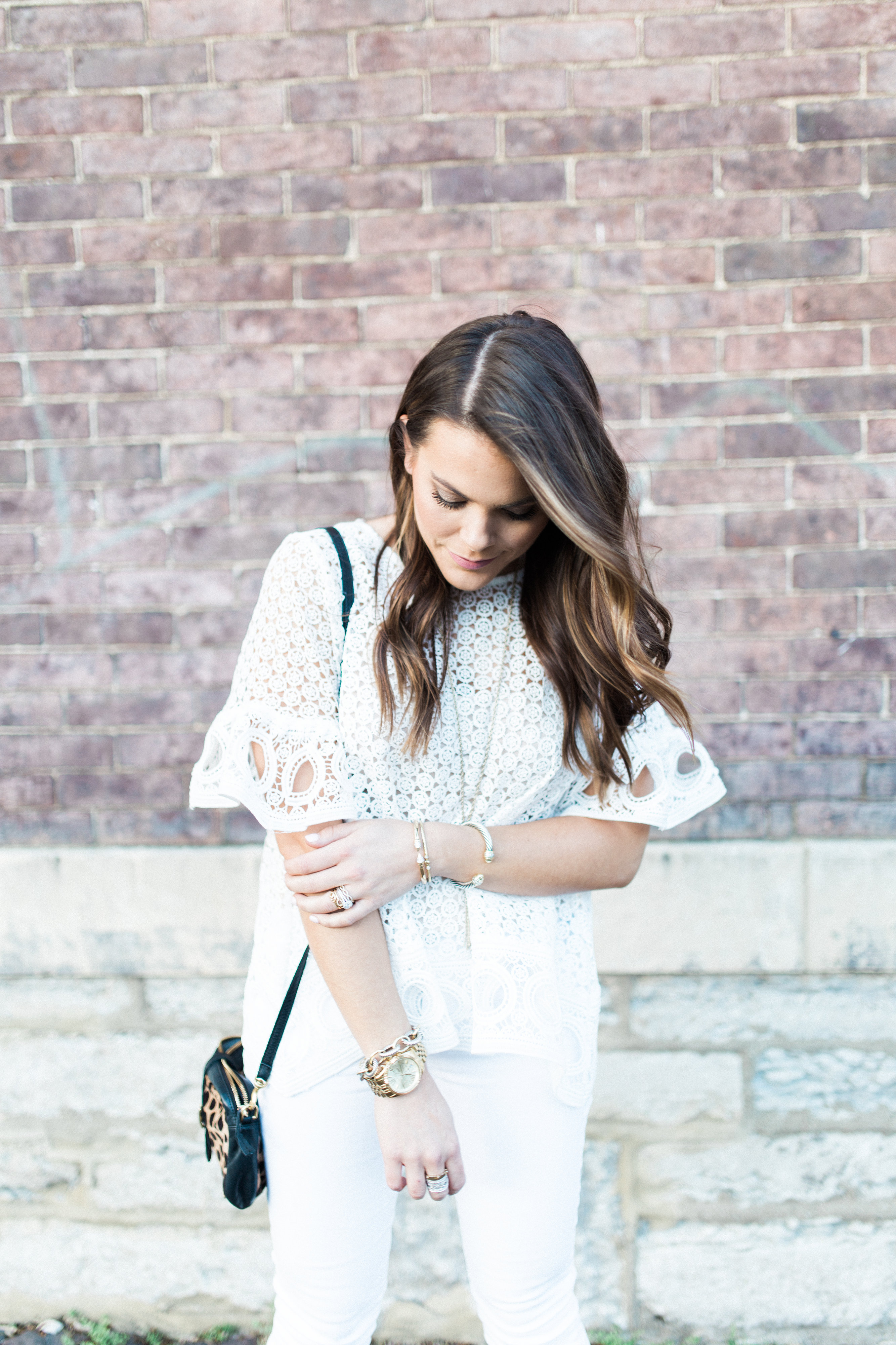 White Lace Blouse / Spring Outfit Idea