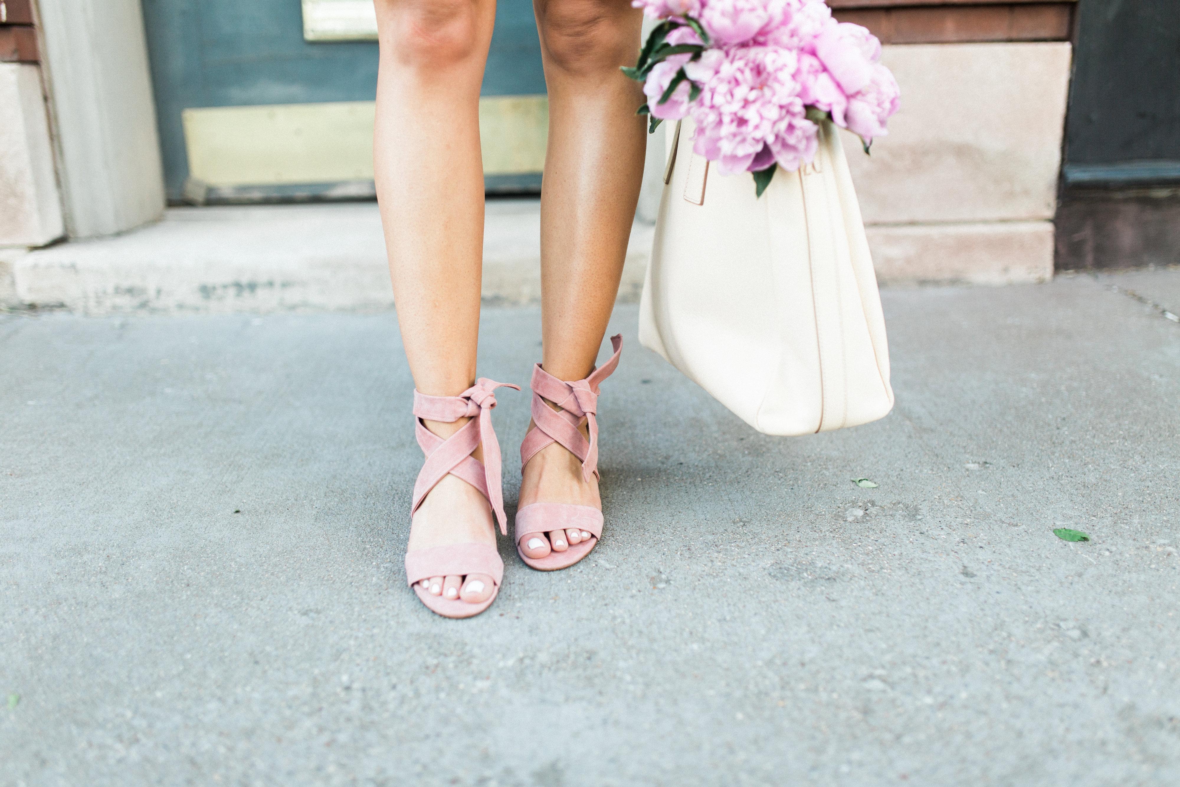 blush suede sandals / gingham shorts