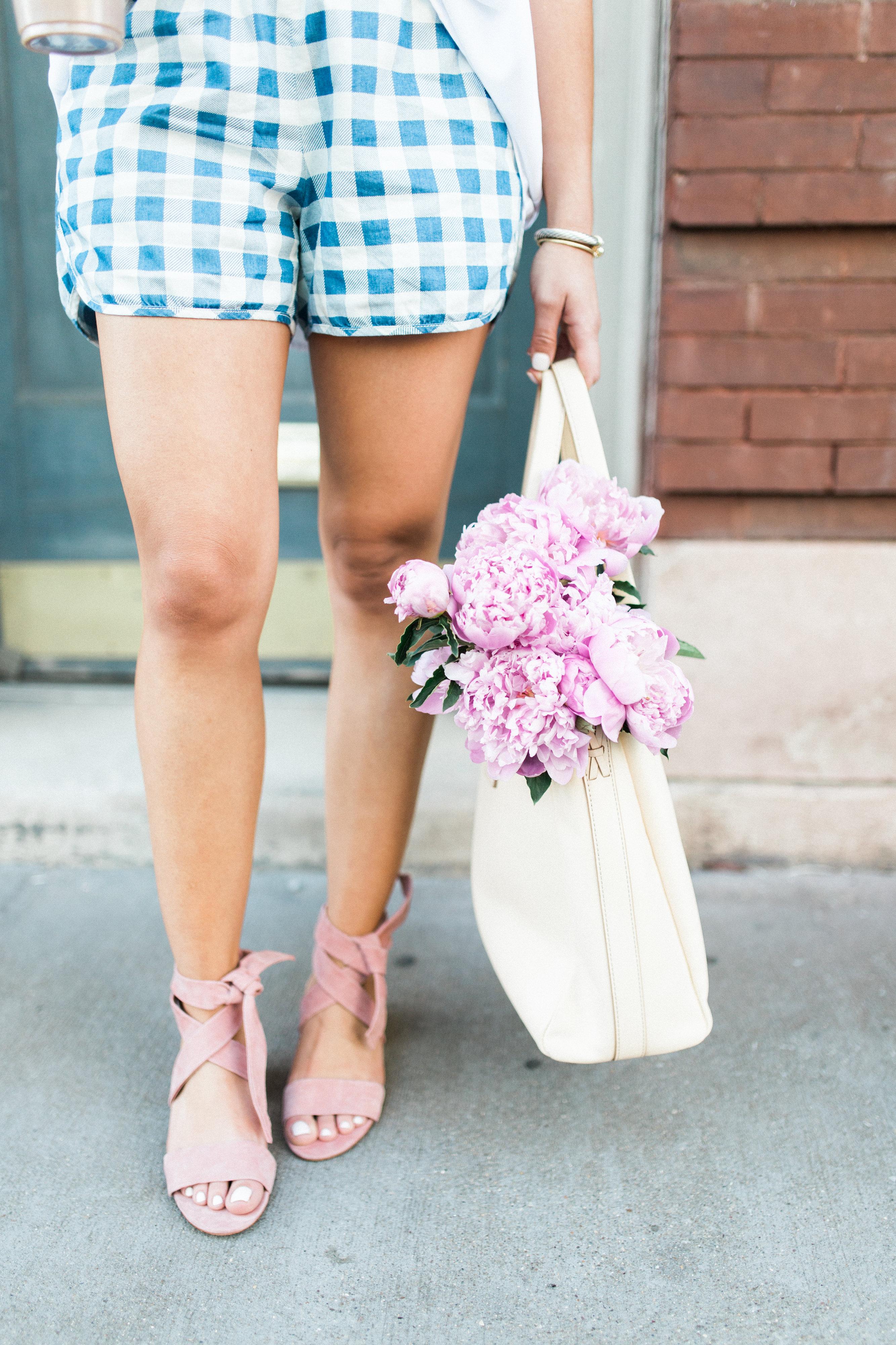 gingham shorts / pink peonies