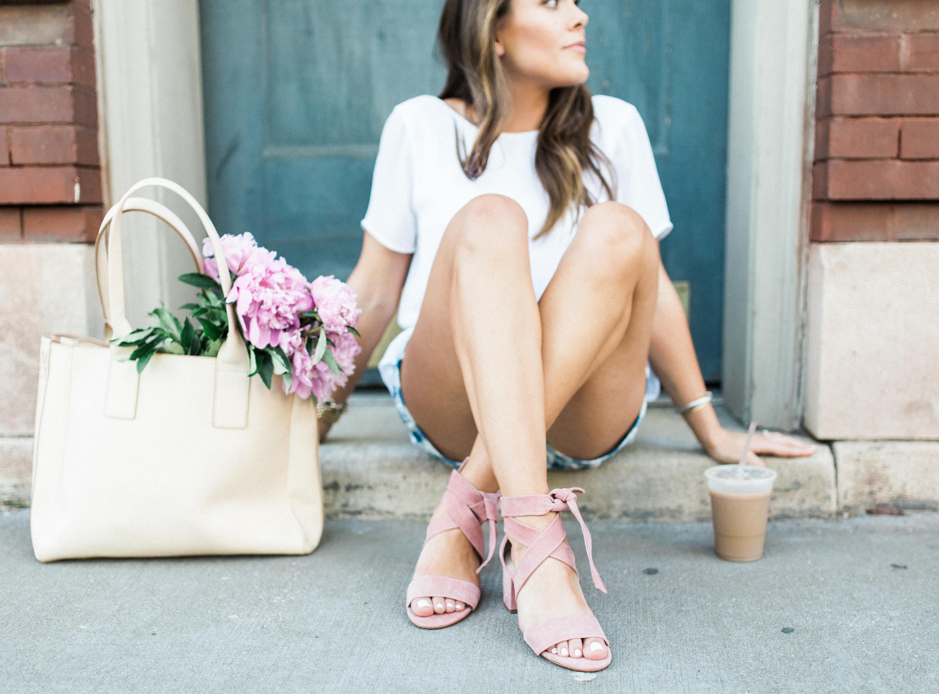 gingham shorts / pink sandals