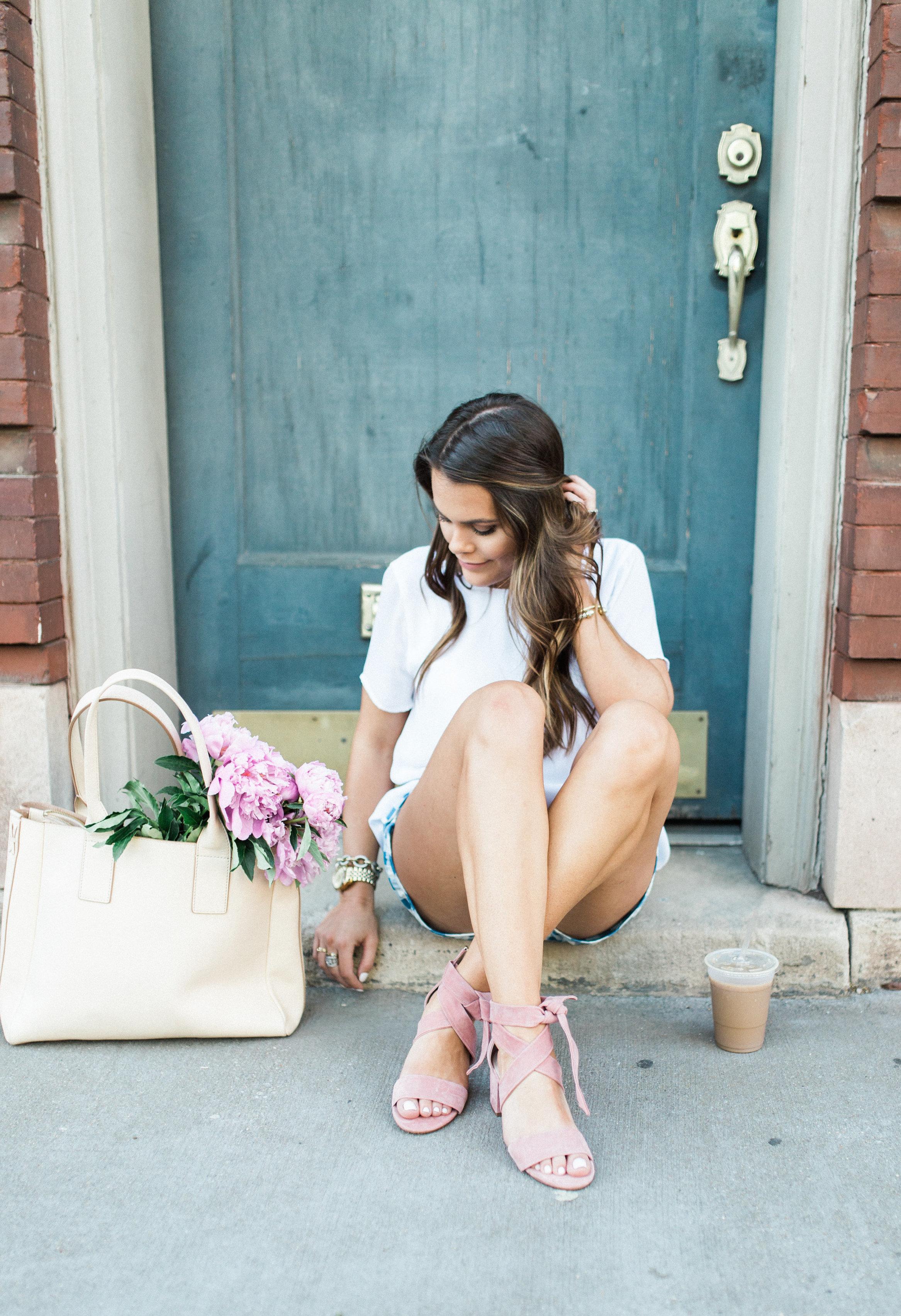 Gingham Shorts / White Blouse