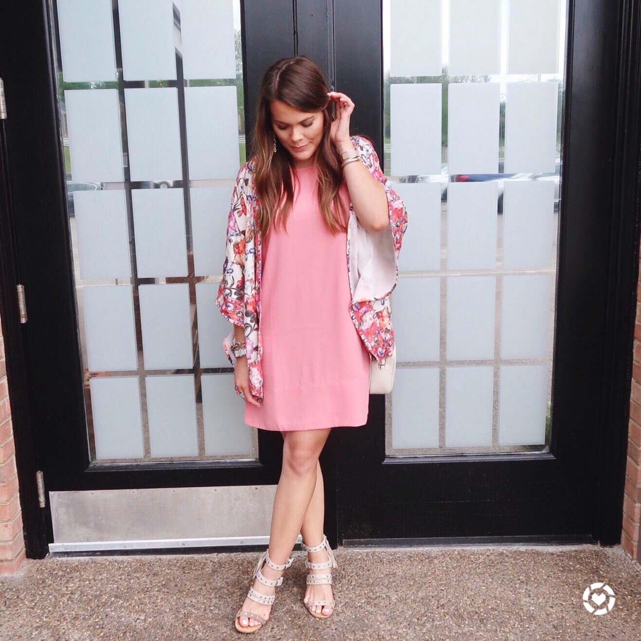 Pink Dress, Anthropologie Floral Kimono