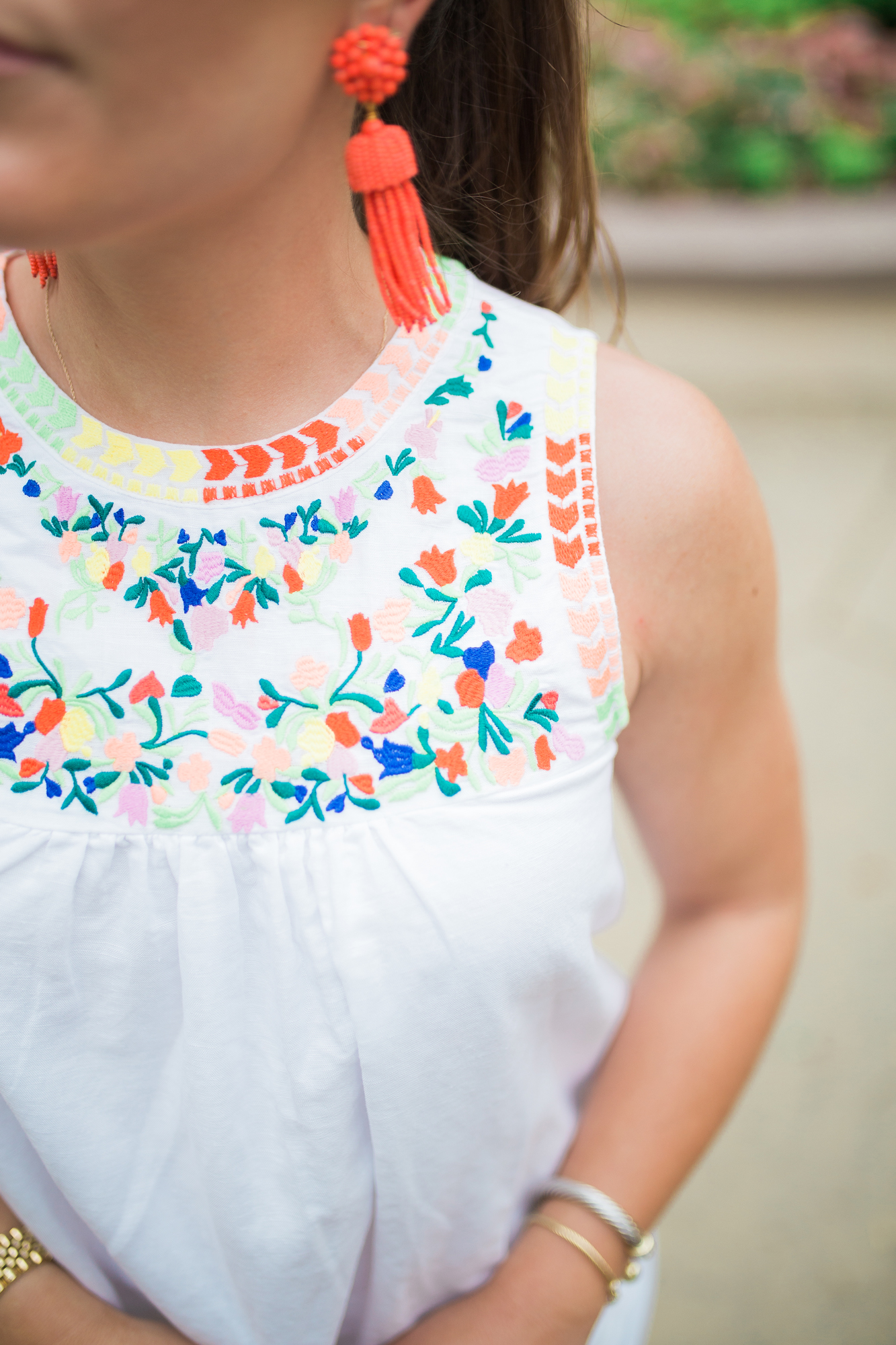 Embroidered Tank Top / Lisi Lerch Tassel Earrings