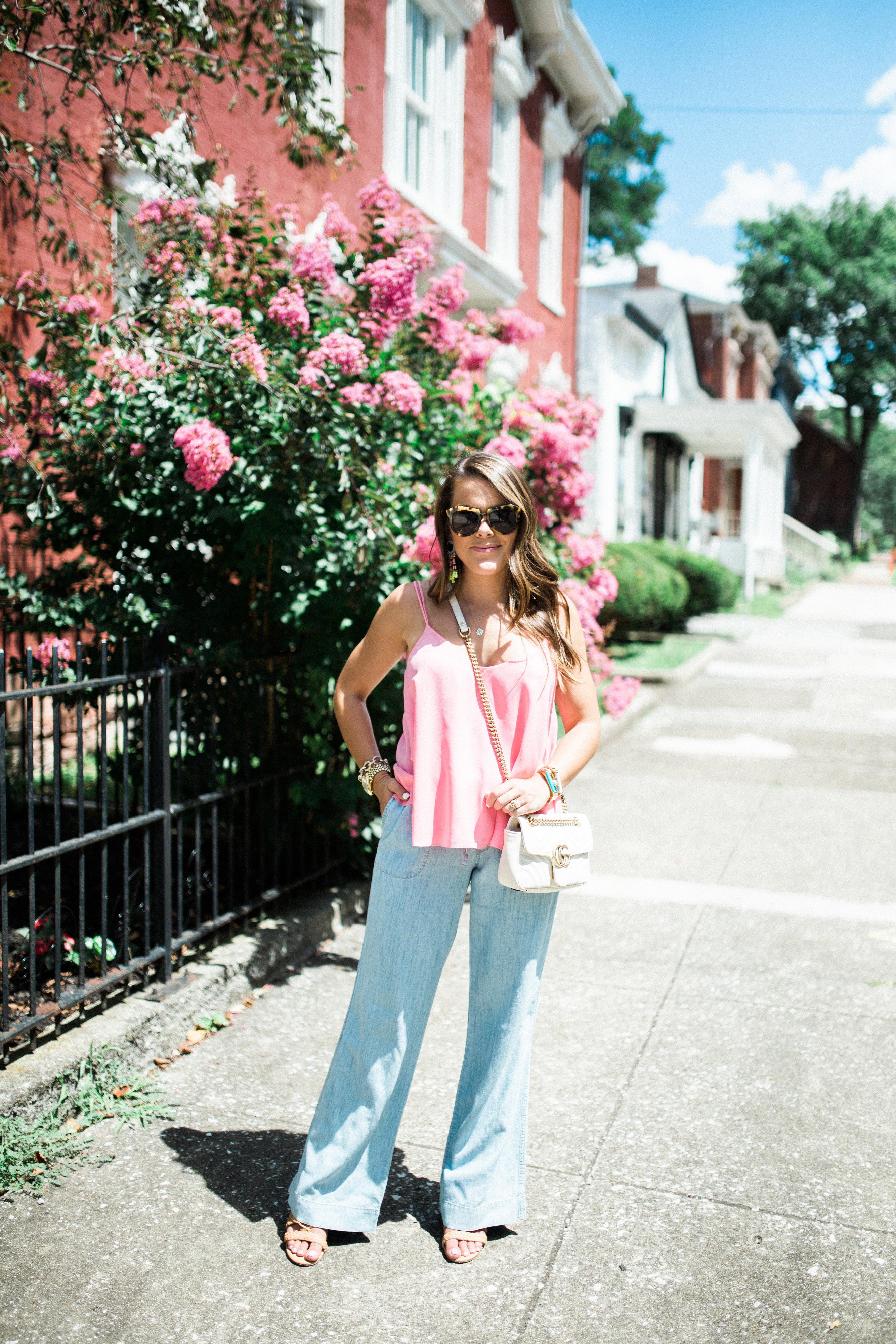 Chambray Pants via Glitter & Gingham / Topshop Tank / BaubleBar Earrings, Gucci Mini Marmont / Summer Style Inspiration
