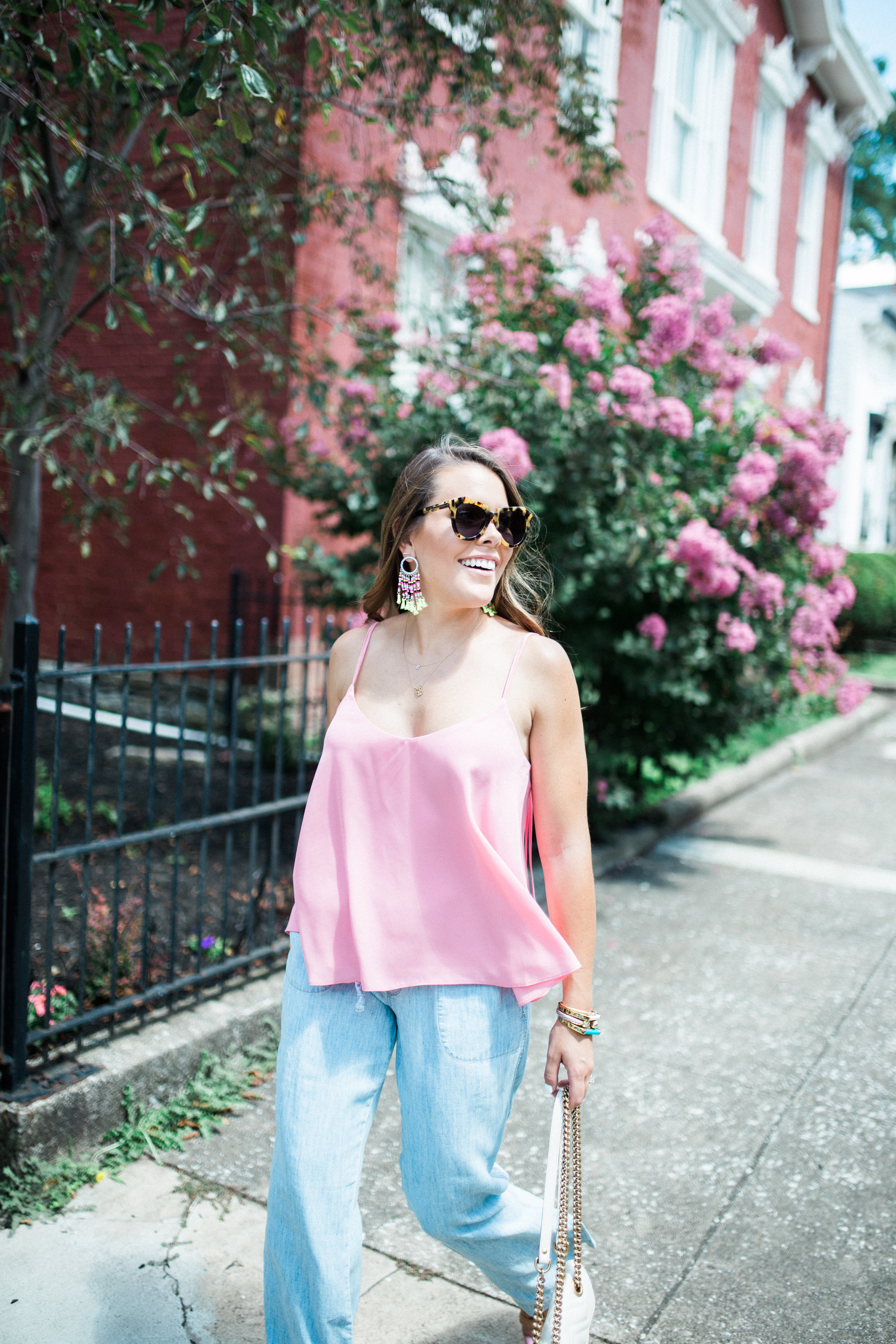 Chambray Pants via Glitter & Gingham / Topshop Tank, BaubleBar Earrings, Gucci Mini Marmont / Summer Style Inspiration