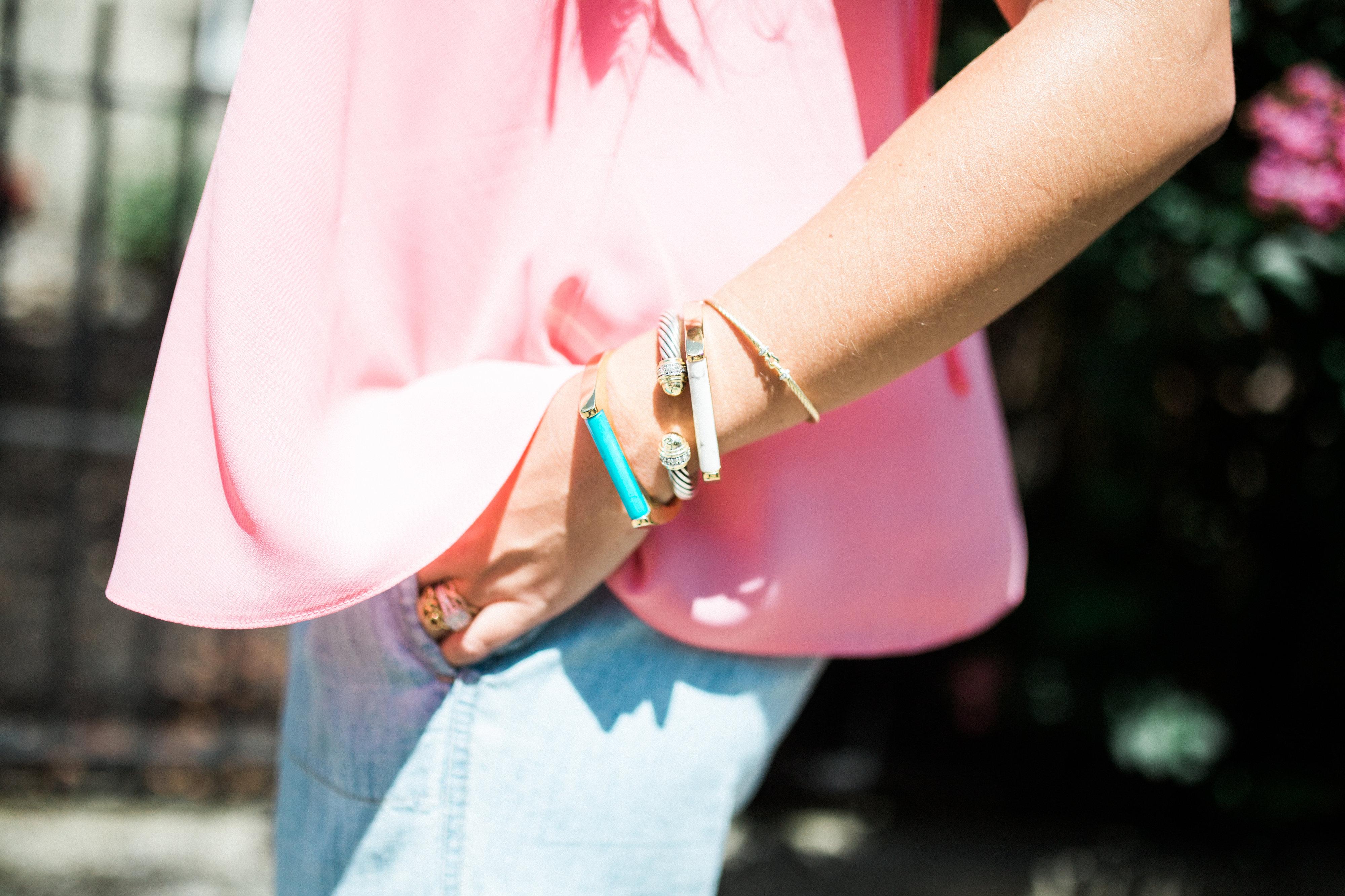 Chambray Pants via Glitter & Gingham / Kate Spade Bracelets, David Yurman Bracelets / Summer Style Inspiration