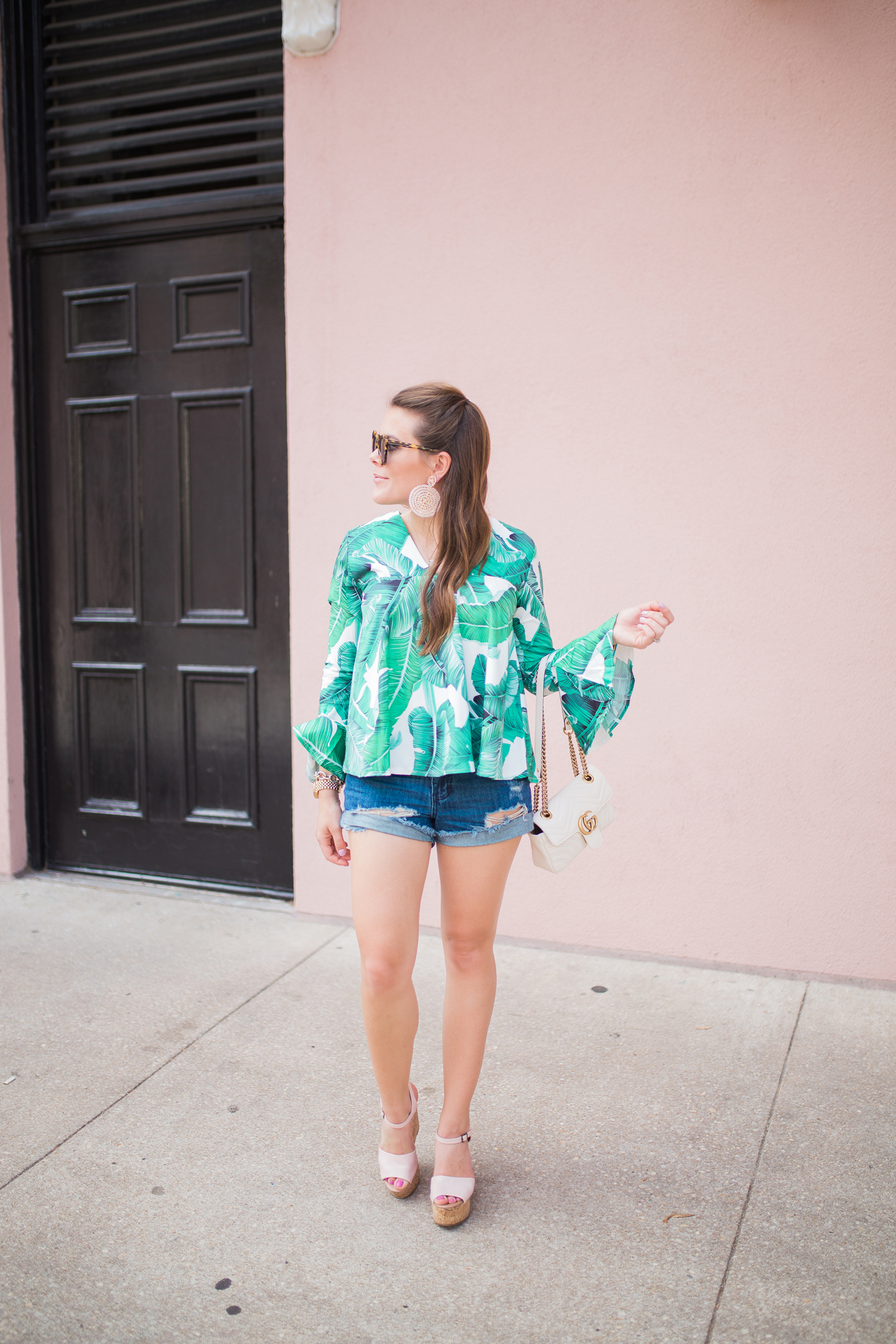 Palm Print Top / Denim Cutoffs