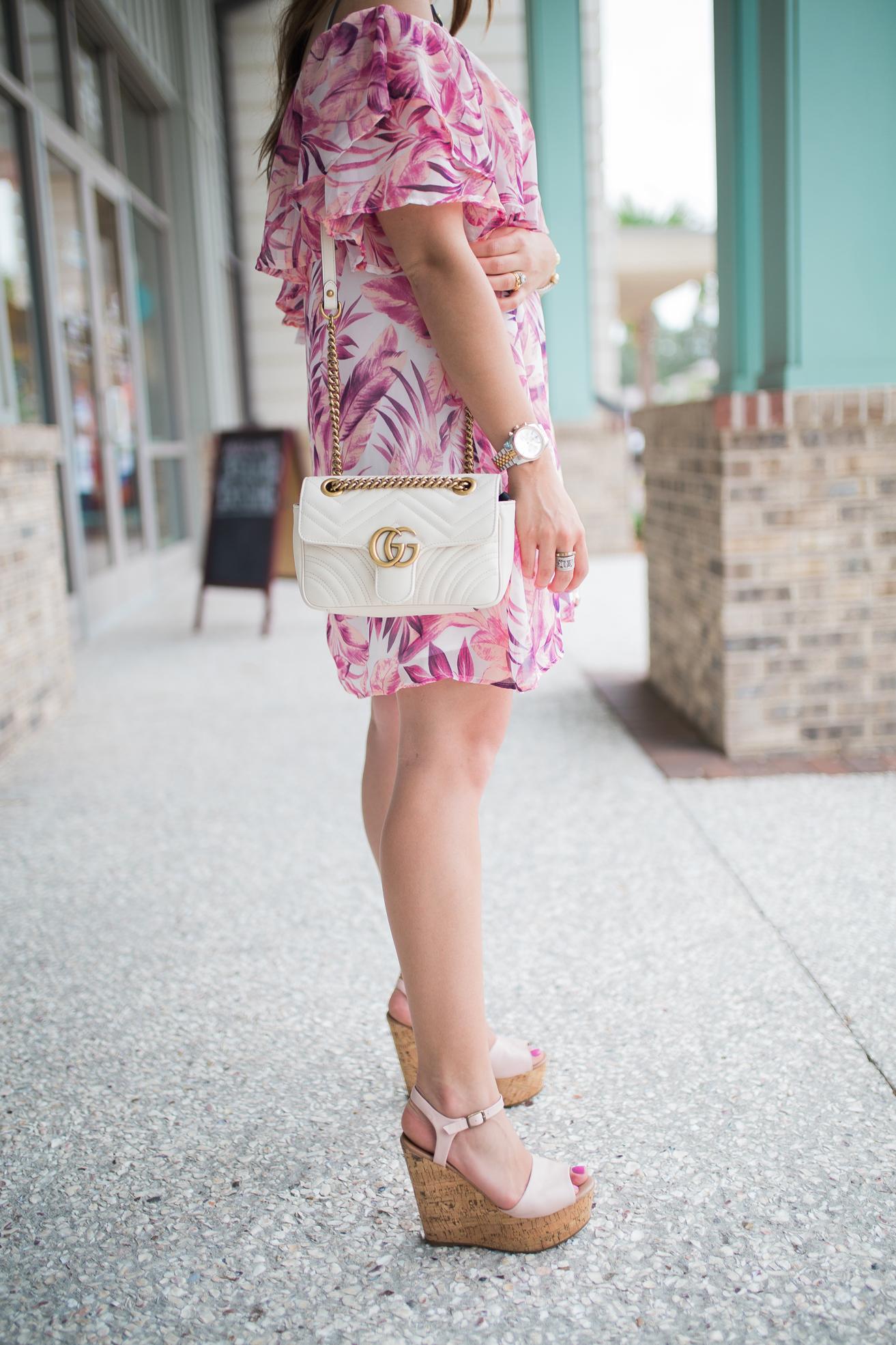 Pink Palm Print Dress / Steve Madden Wedges