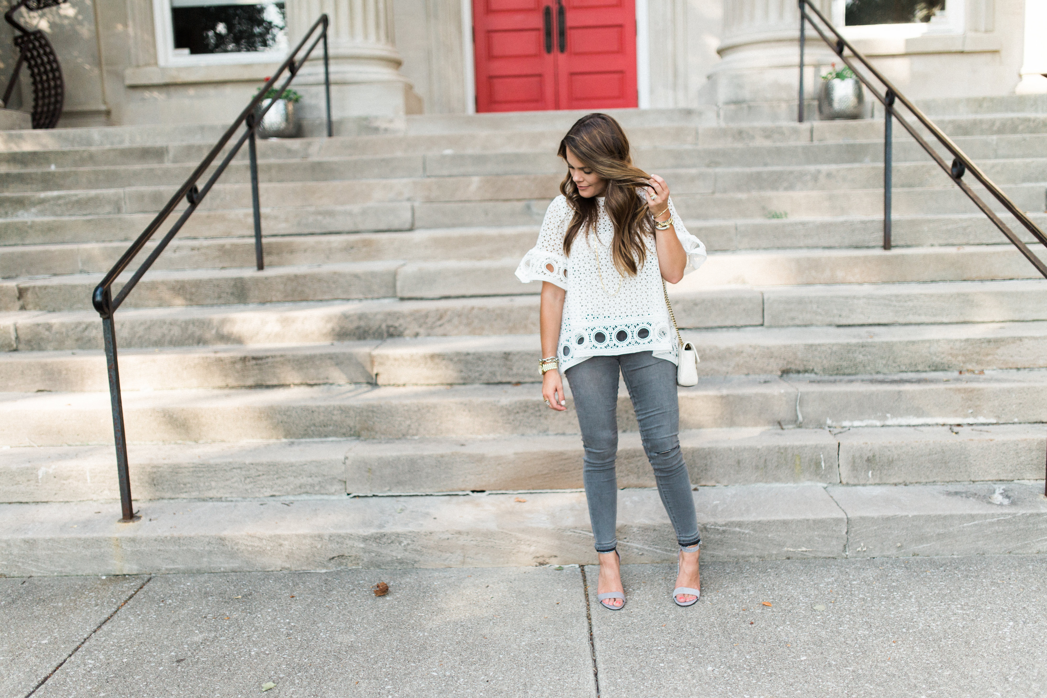 How to style grey jeans / best sandals from the Nordstrom Anniversary Sale