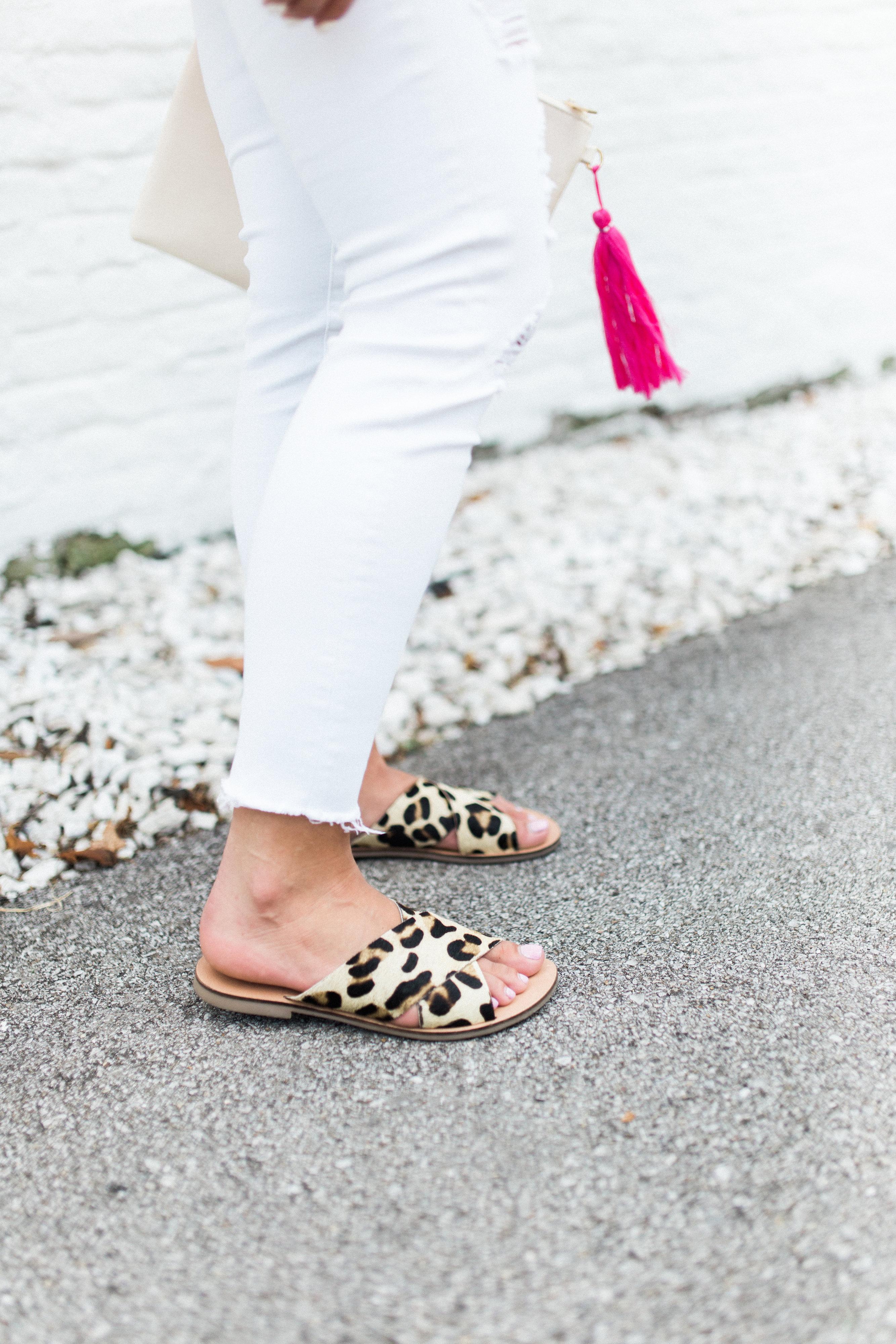 Ruffle Sweater Tank / Leopard Sandals