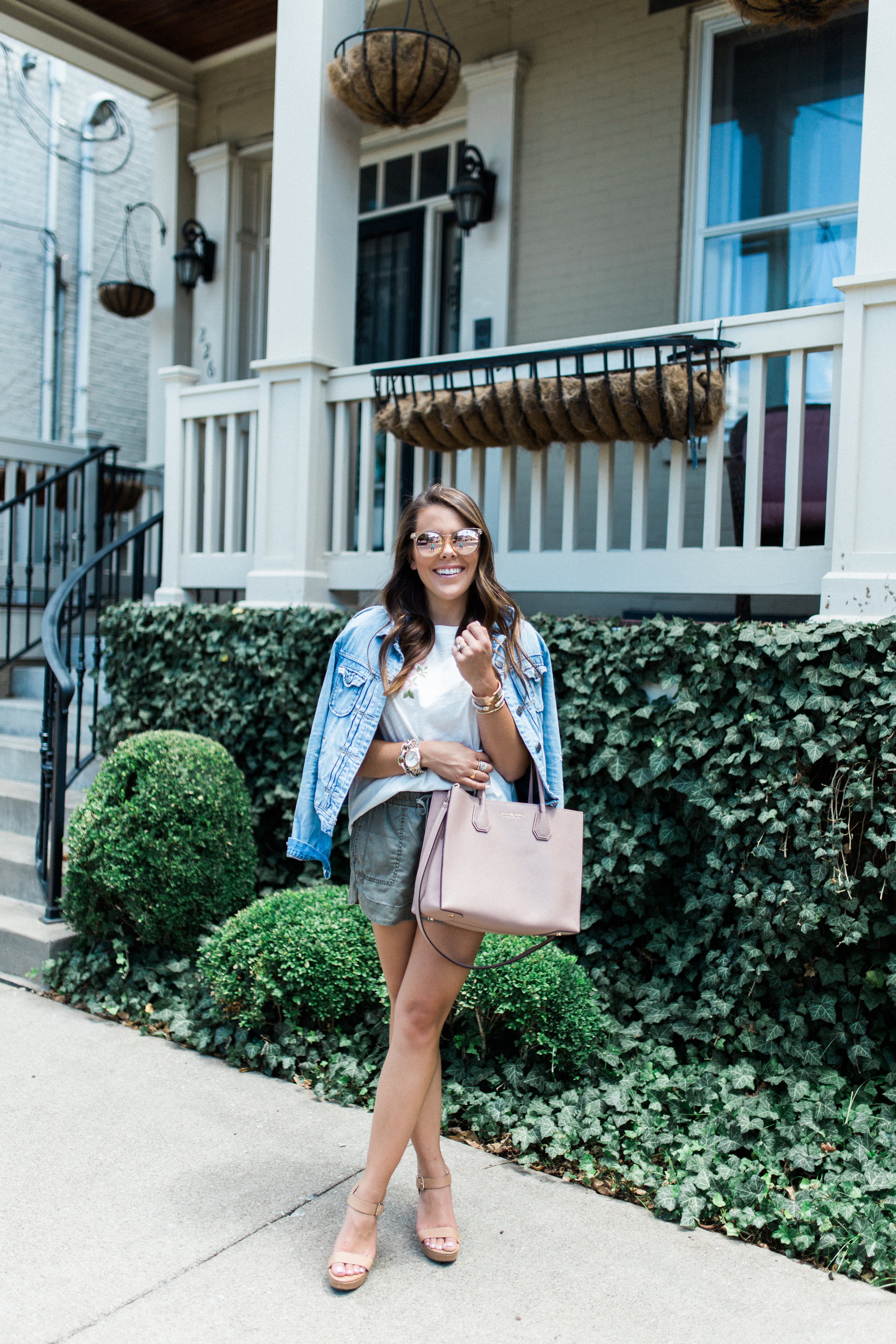 Embroidered Tshirt via Glitter & Gingham / Summer Style / How to style a jean jacket / Anthropologie / Express / J.Crew