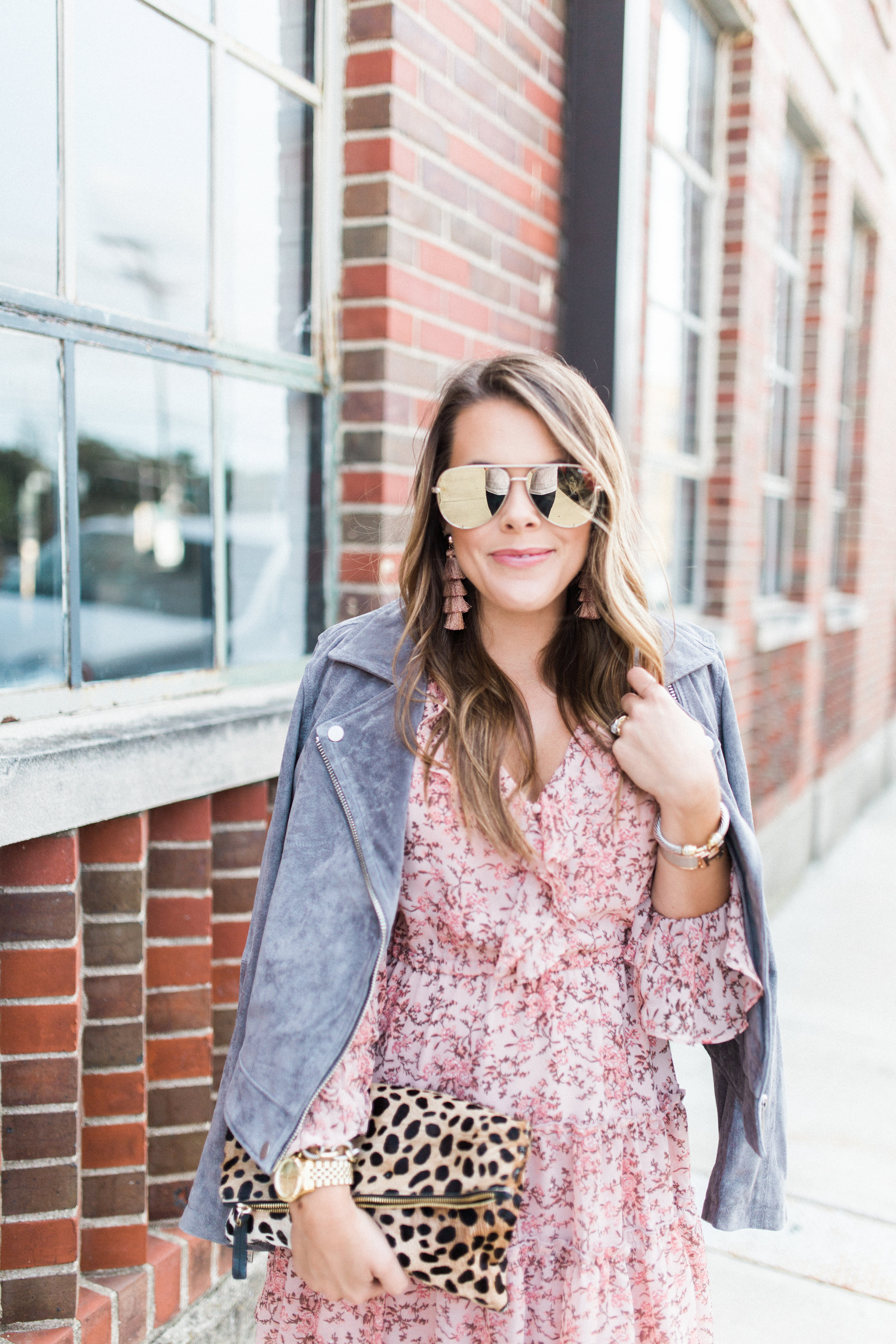 Fall Floral Dress / Suede Jacket / How to wear mules