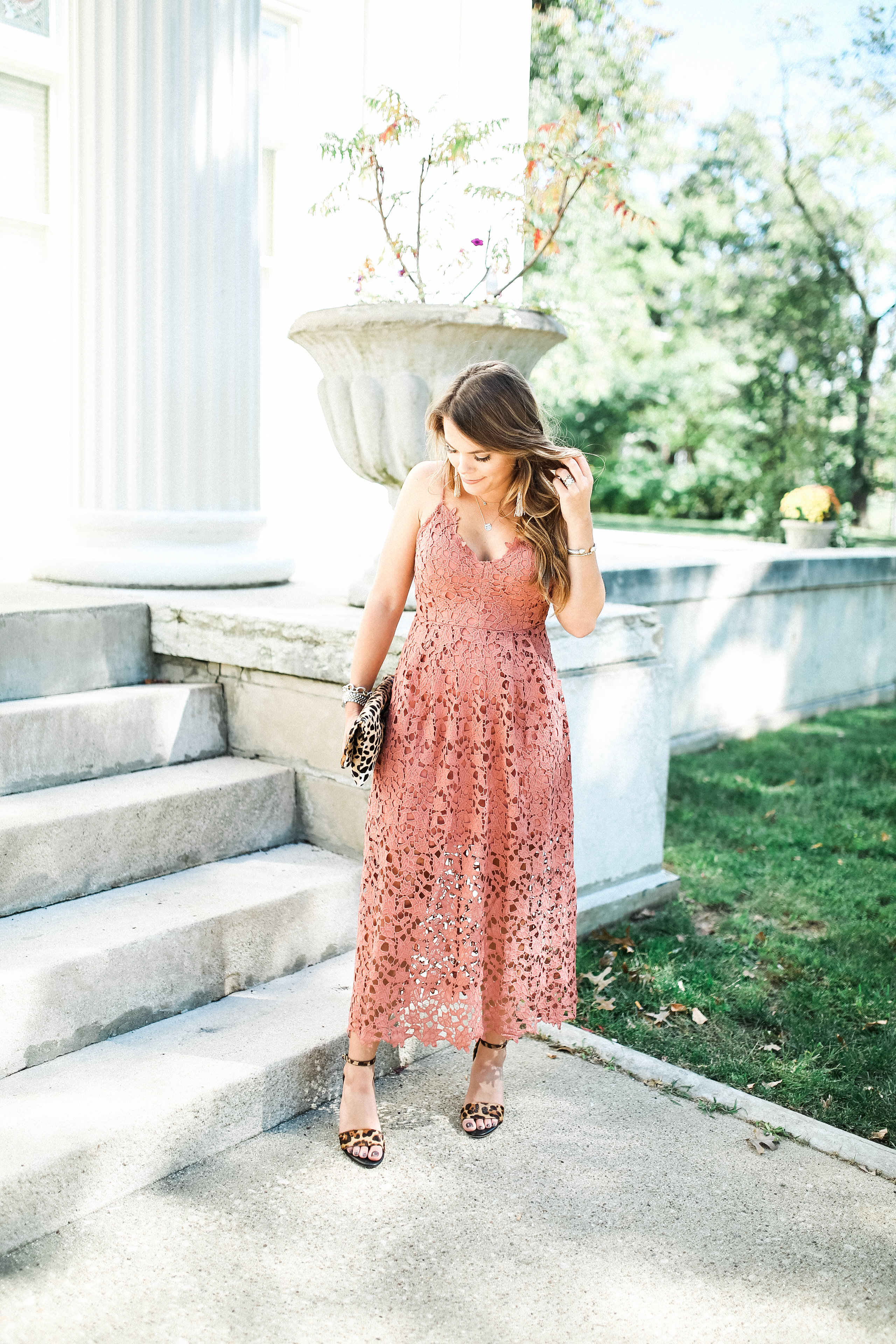 Fall Wedding Outfit Idea / Lace Midi Dress