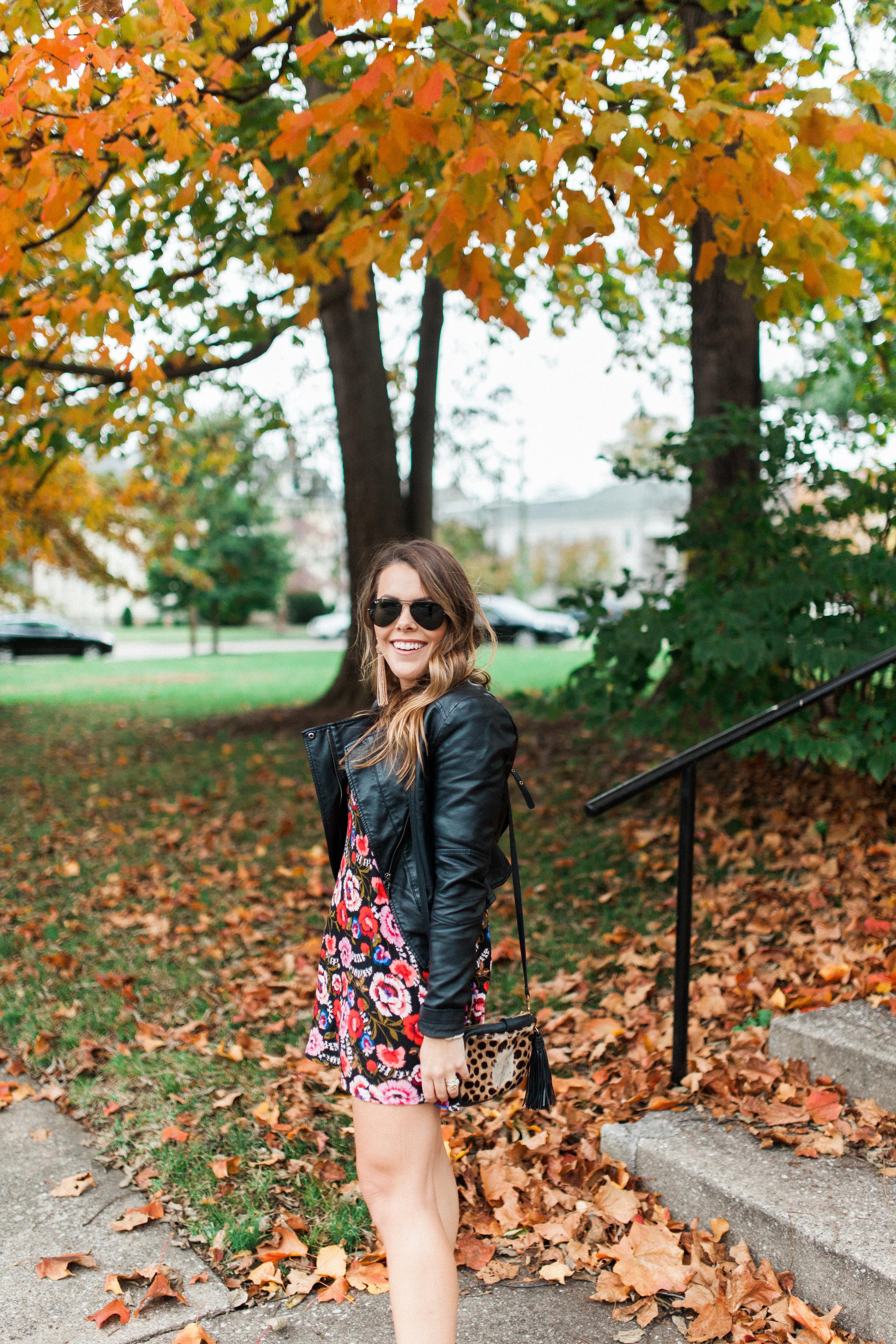 Fall Floral Mini Dress / Fall Outfit Idea