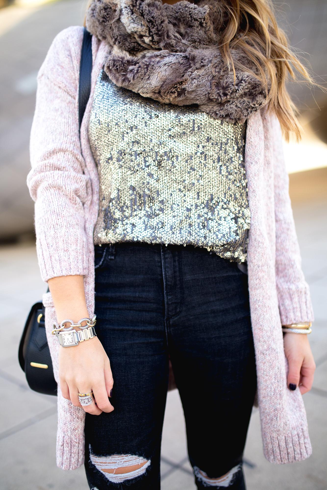 Sequin Tshirt / Casual Holiday Look