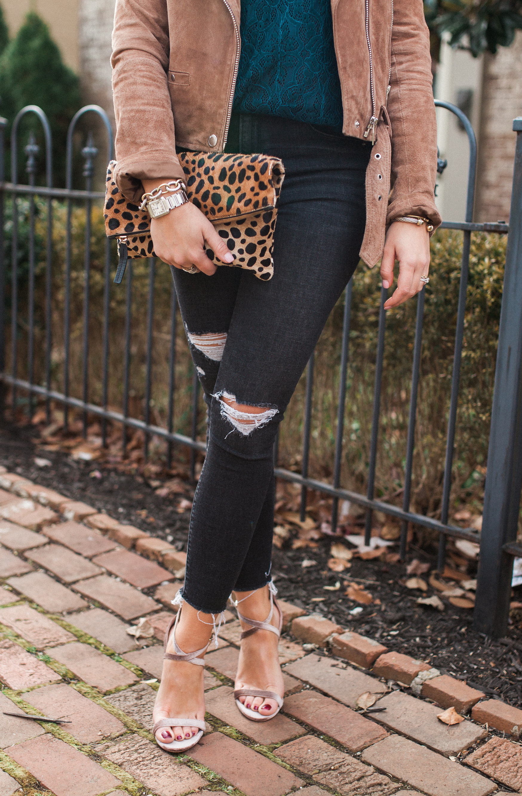 Transition Holiday Pieces / Lace Top / Suede Jacket