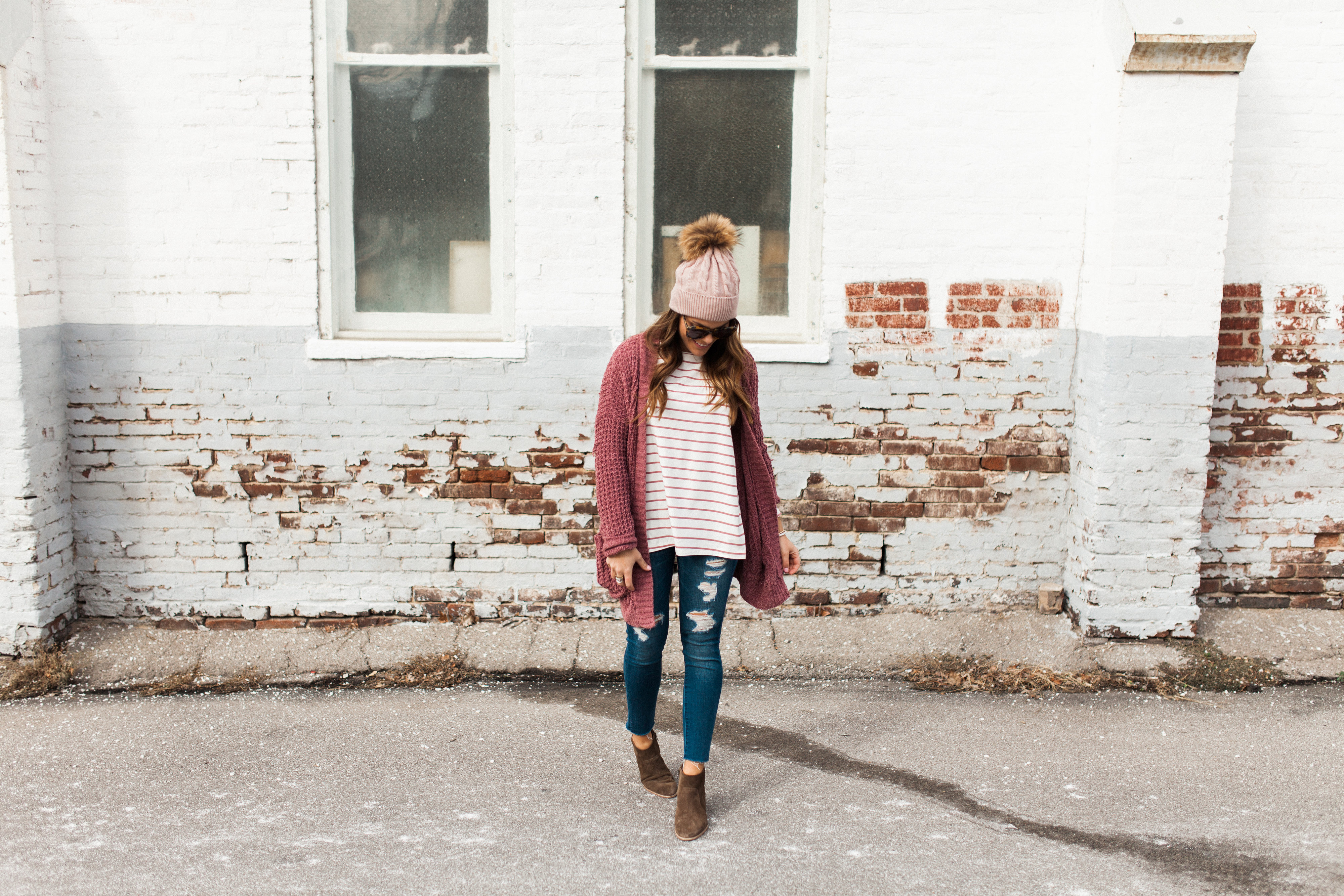 Winter Outfit Idea via Glitter & Gingham / ft. Pink Cardigan, the BEST Stripe Tee