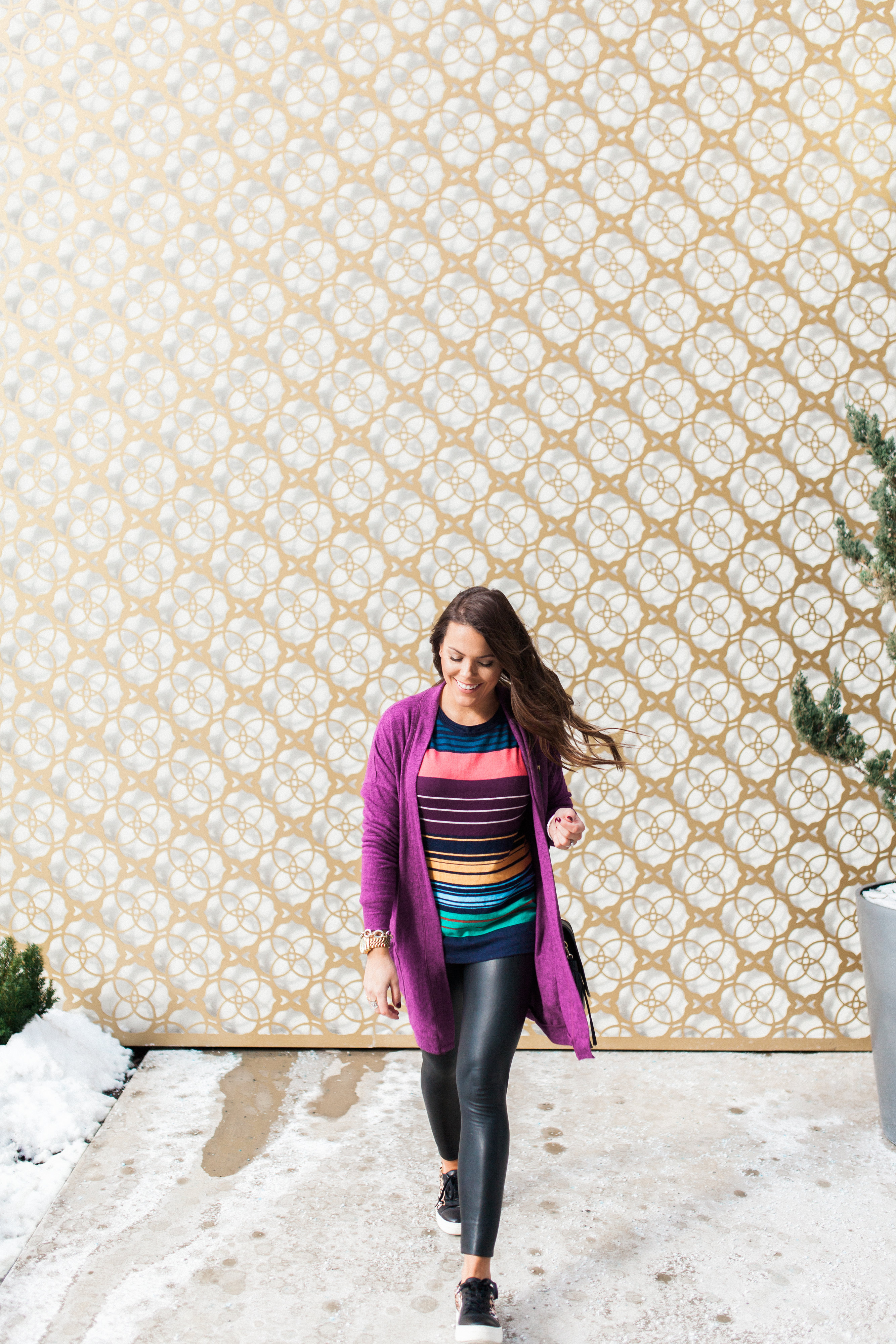 Sporty Stripe Sweater / How to style leather leggings via Glitter & Gingham