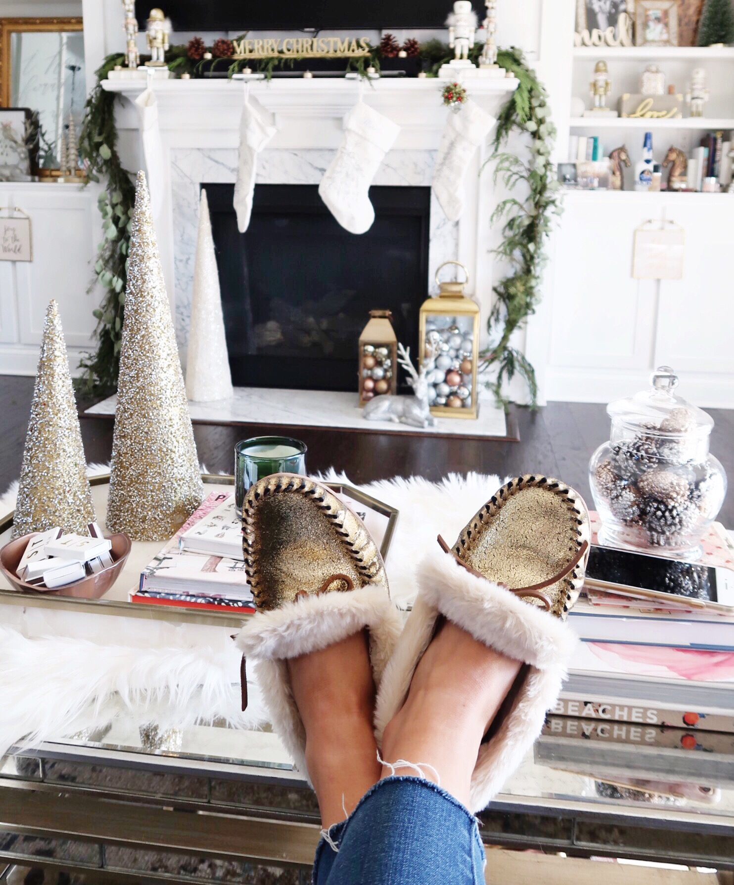 Winter Outfit Ideas / Gold Slippers