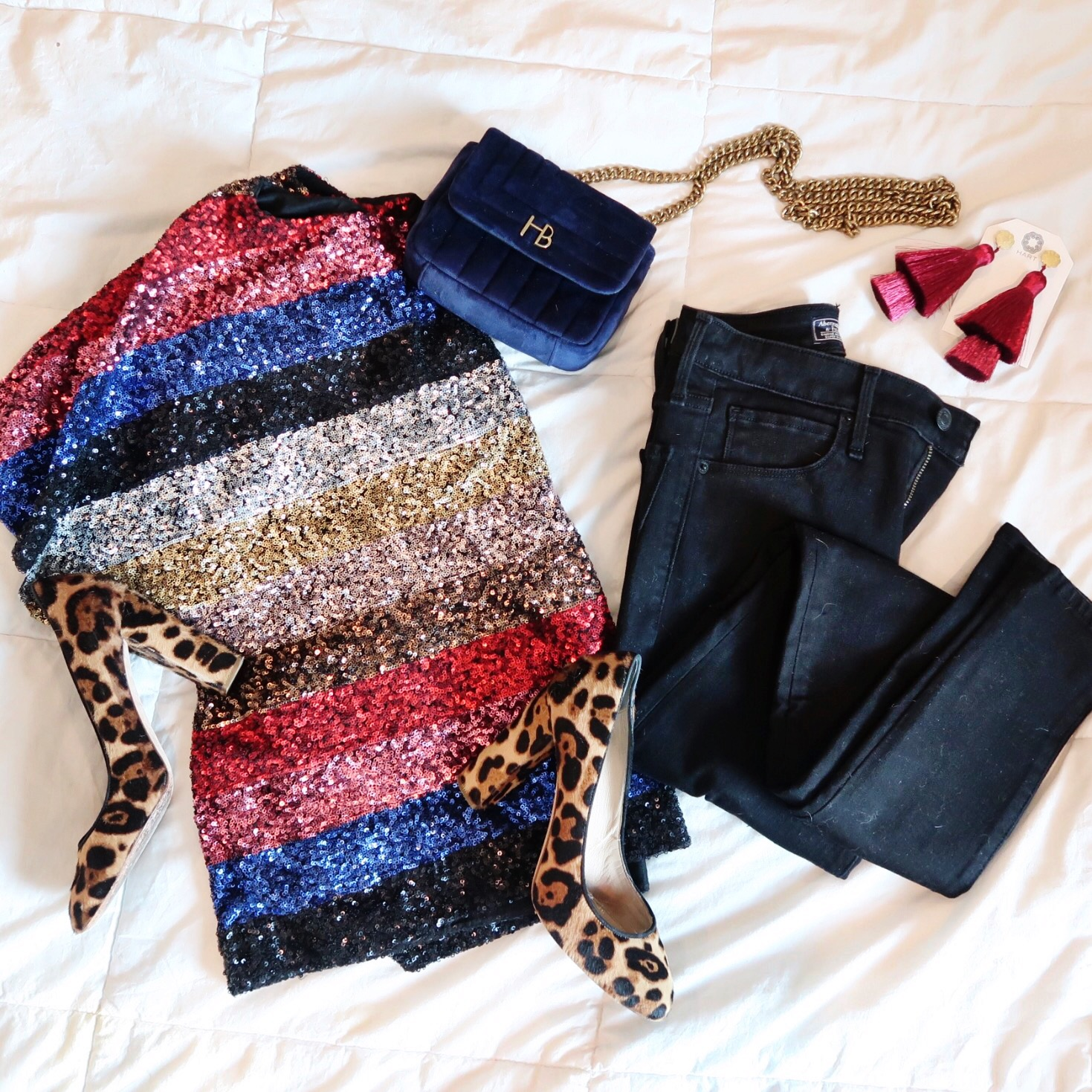 Winter Outfit Ideas / Sequin Stripe Top