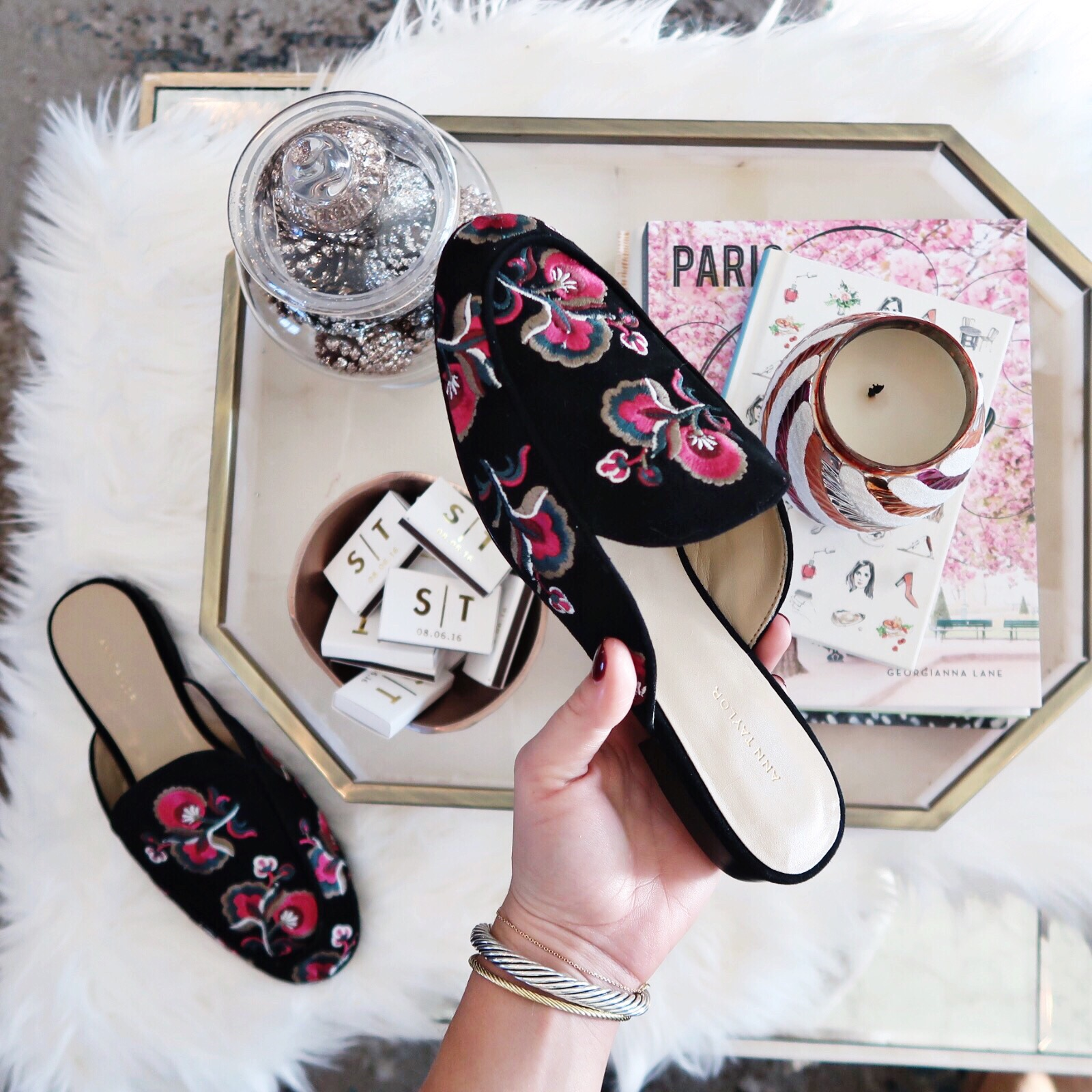 Winter Outfit Ideas / Embroidered Mules