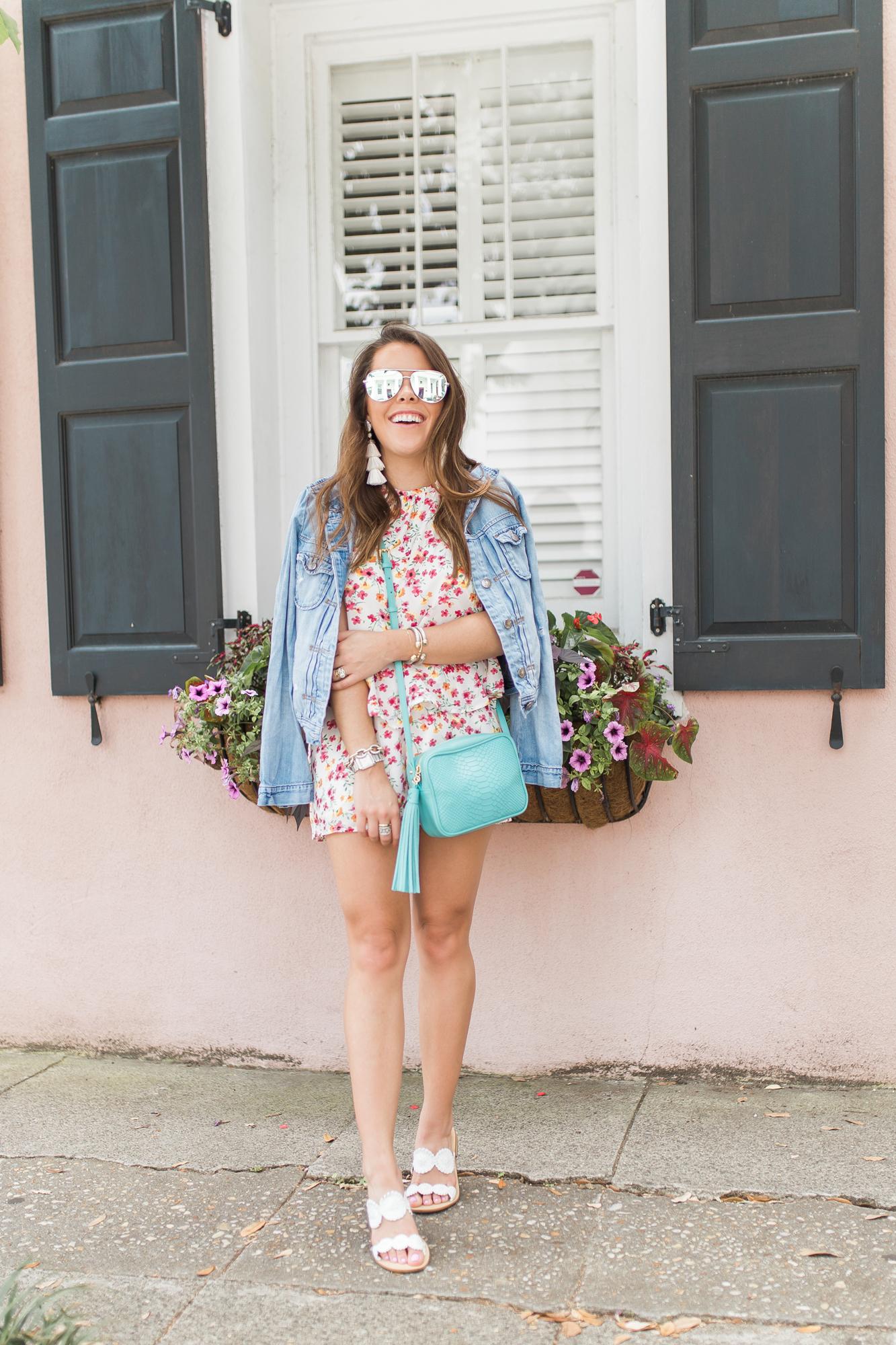 48a7c409d01 Floral Romper for Summer - Glitter   Gingham
