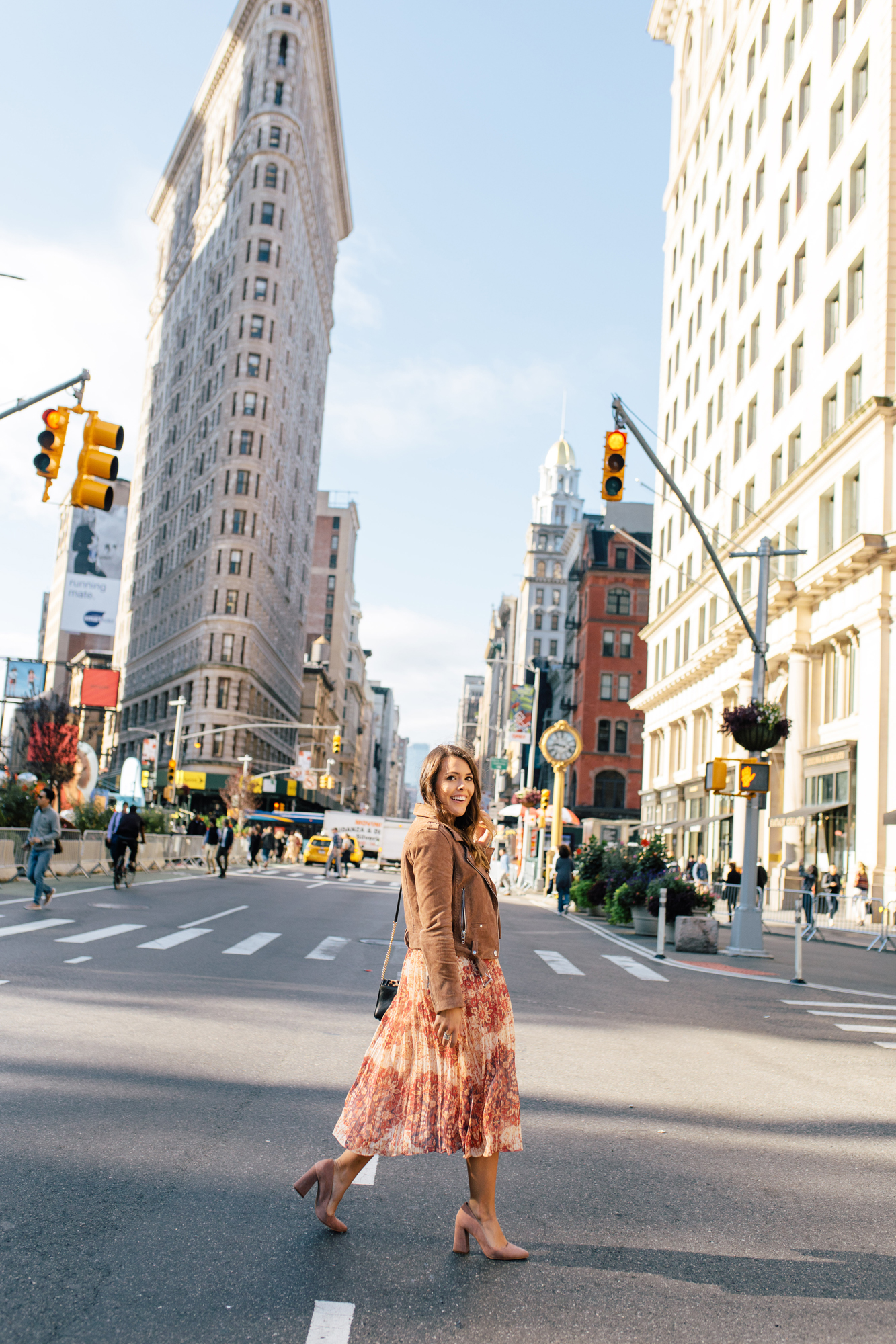 New York City Photo Opp / Flatiron Building / Printed Midi Skirt