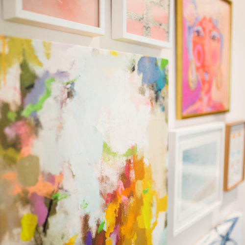 Feminine Colorful Gallery Wall / Office Inspo